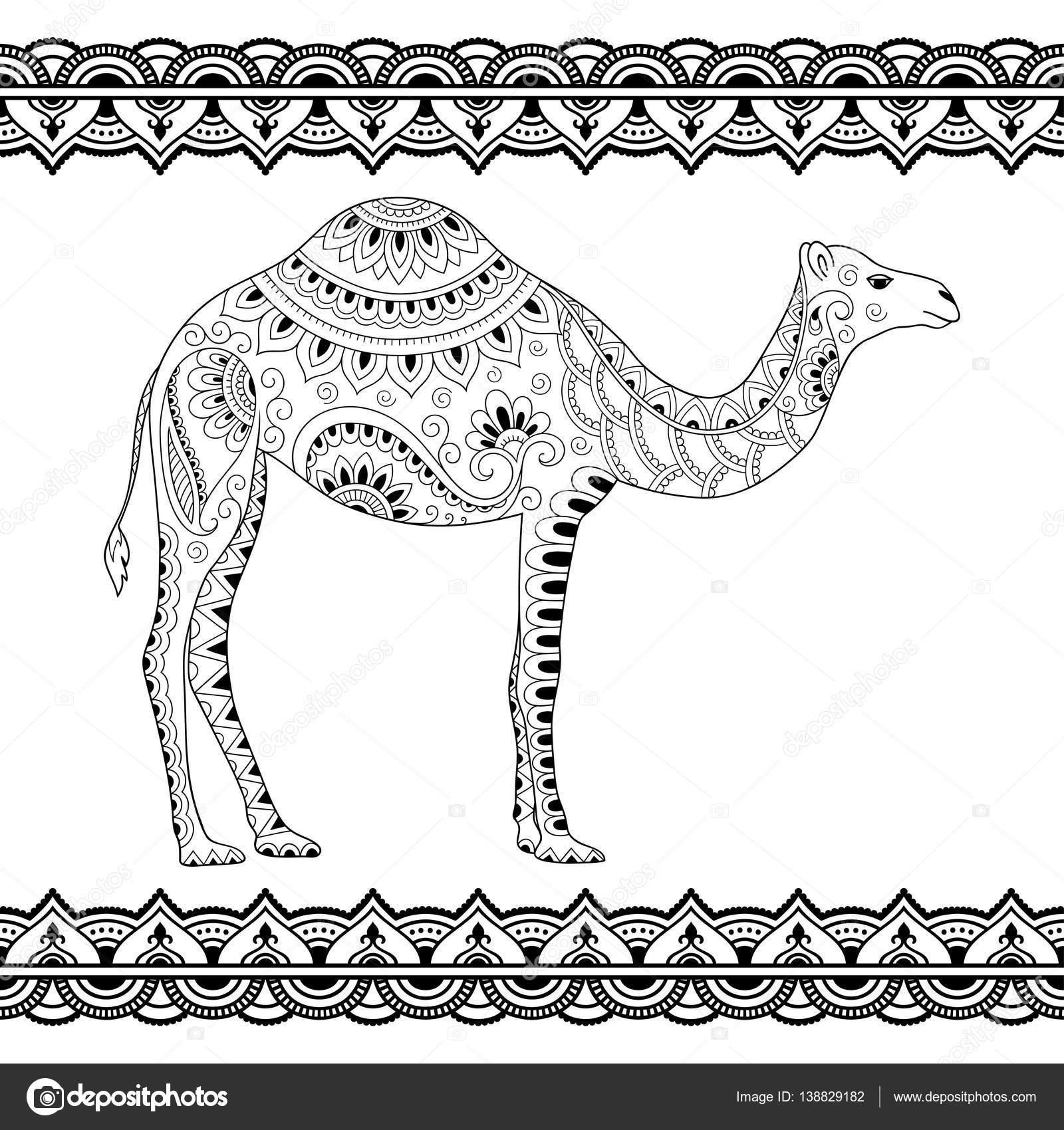 Doodle estilizadas camellas y sin fronteras para el diseño y ...