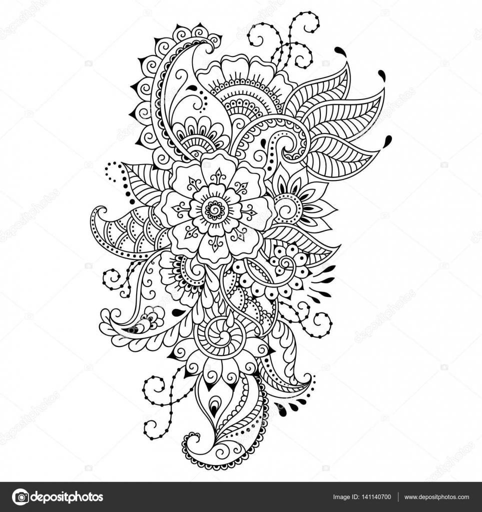 Modello di fiore del tatuaggio del henn stile mehndi - Modello di base del fiore ...