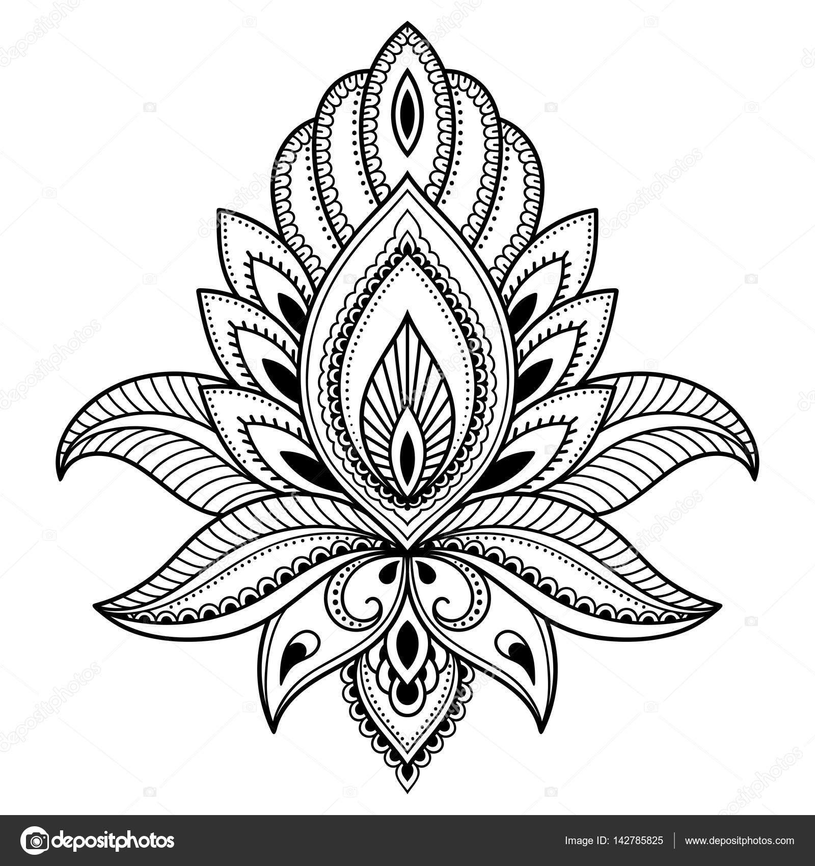 henna tattoo bloem sjabloon in indiase stijl  etnische