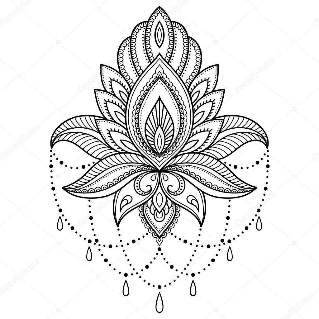 Henna Tattoo Farbe Kaufen Hannover: Henna-Tattoo Blume Vorlage Im Indischen Stil. Ethnische
