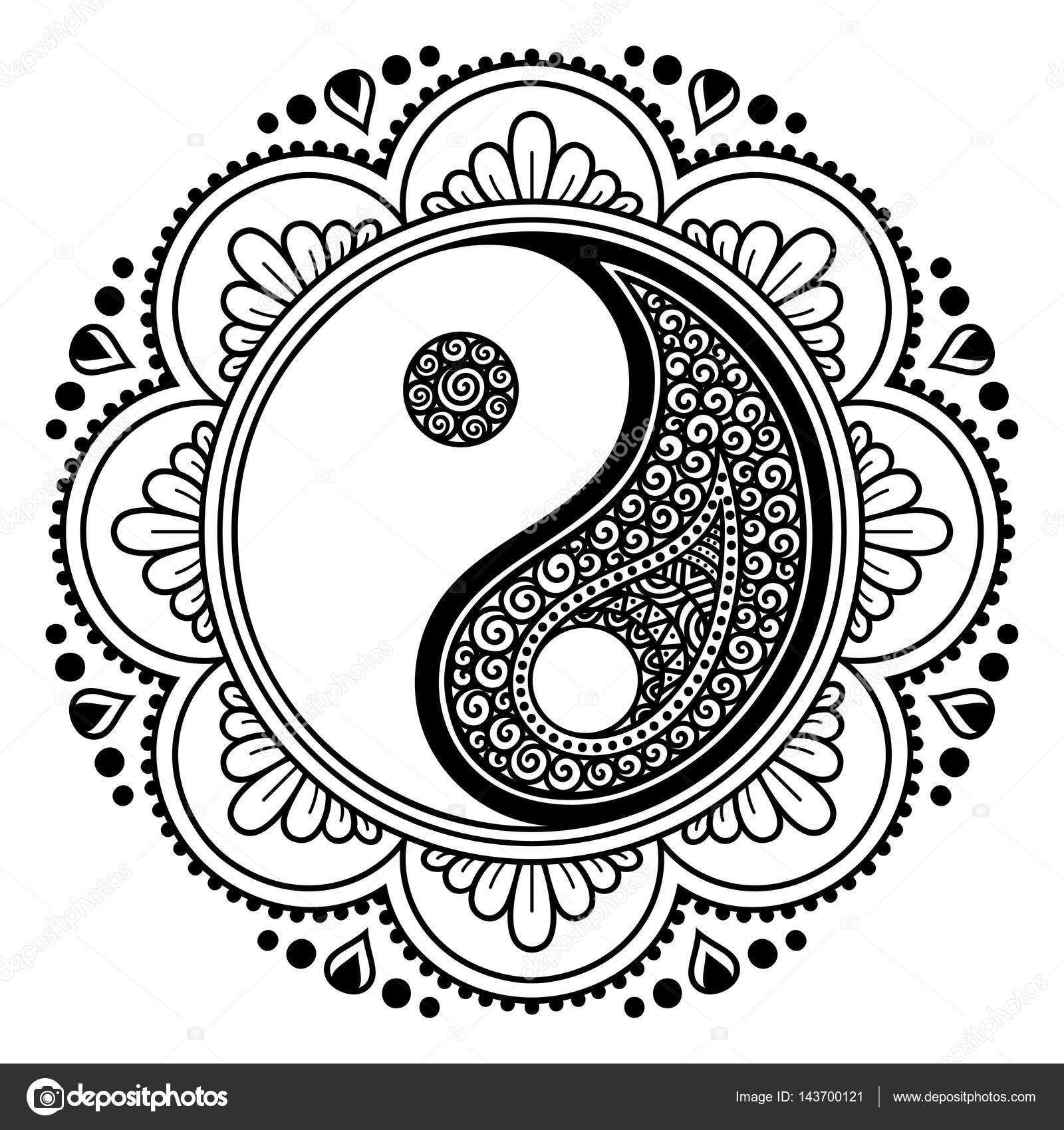 Mandala Tattoo Kleurplaten.Vector Henna Tattoo Mandala Yin Yang Decoratieve Symbool Mehndi