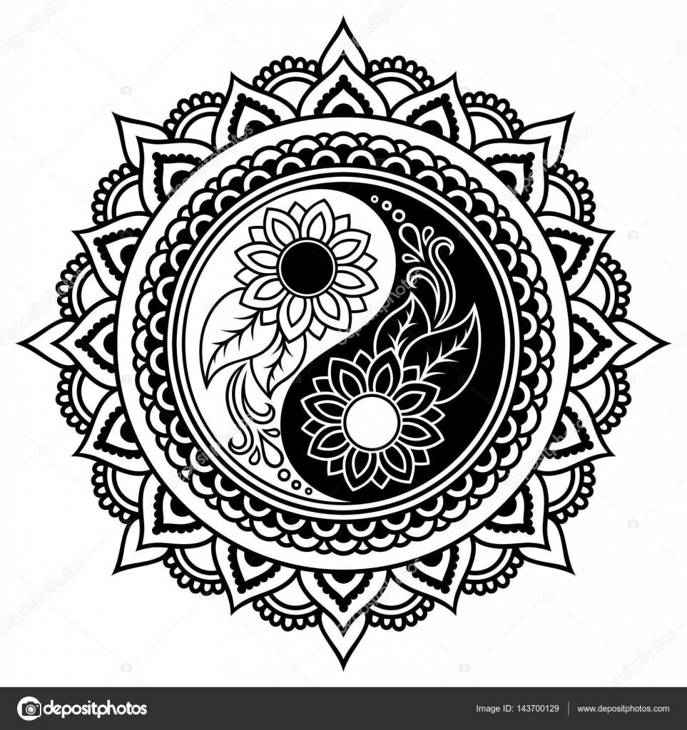 vector henna tatoo mandala yin yang decorative symbol