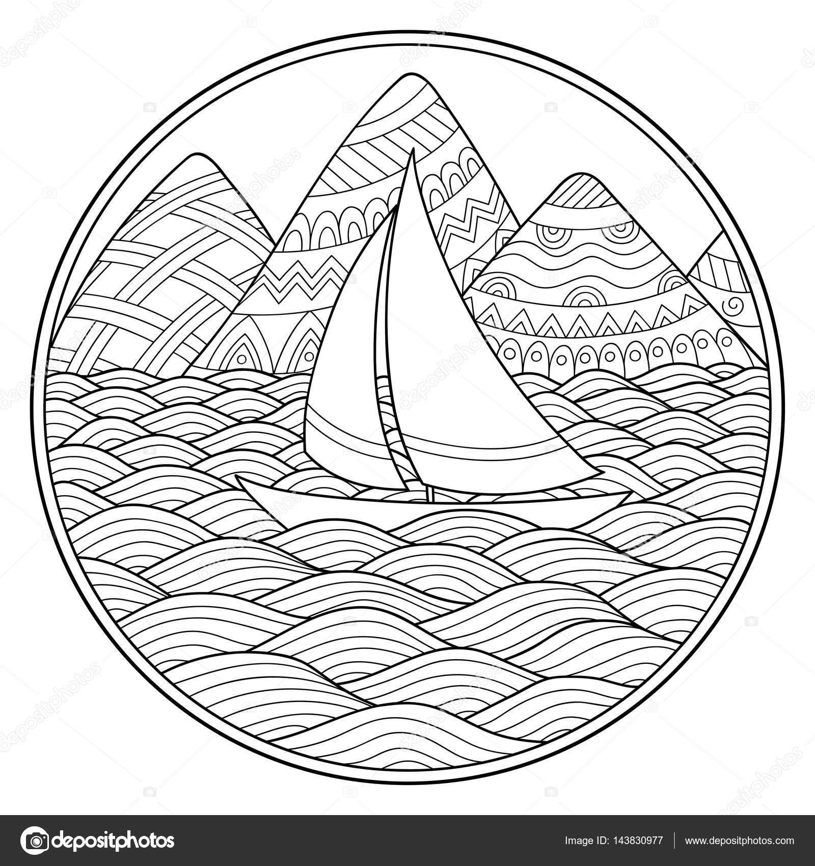 Doodle el patrón en blanco y negro. Patrón de paisaje para colorear ...