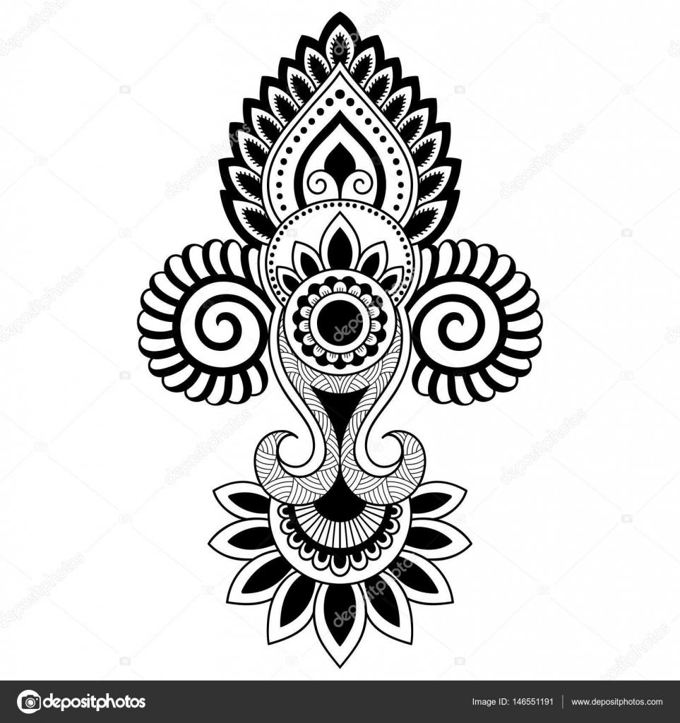 Mehndi Vorlagen Gratis : Henna tattoo bloem sjabloon in indiase stijl etnische
