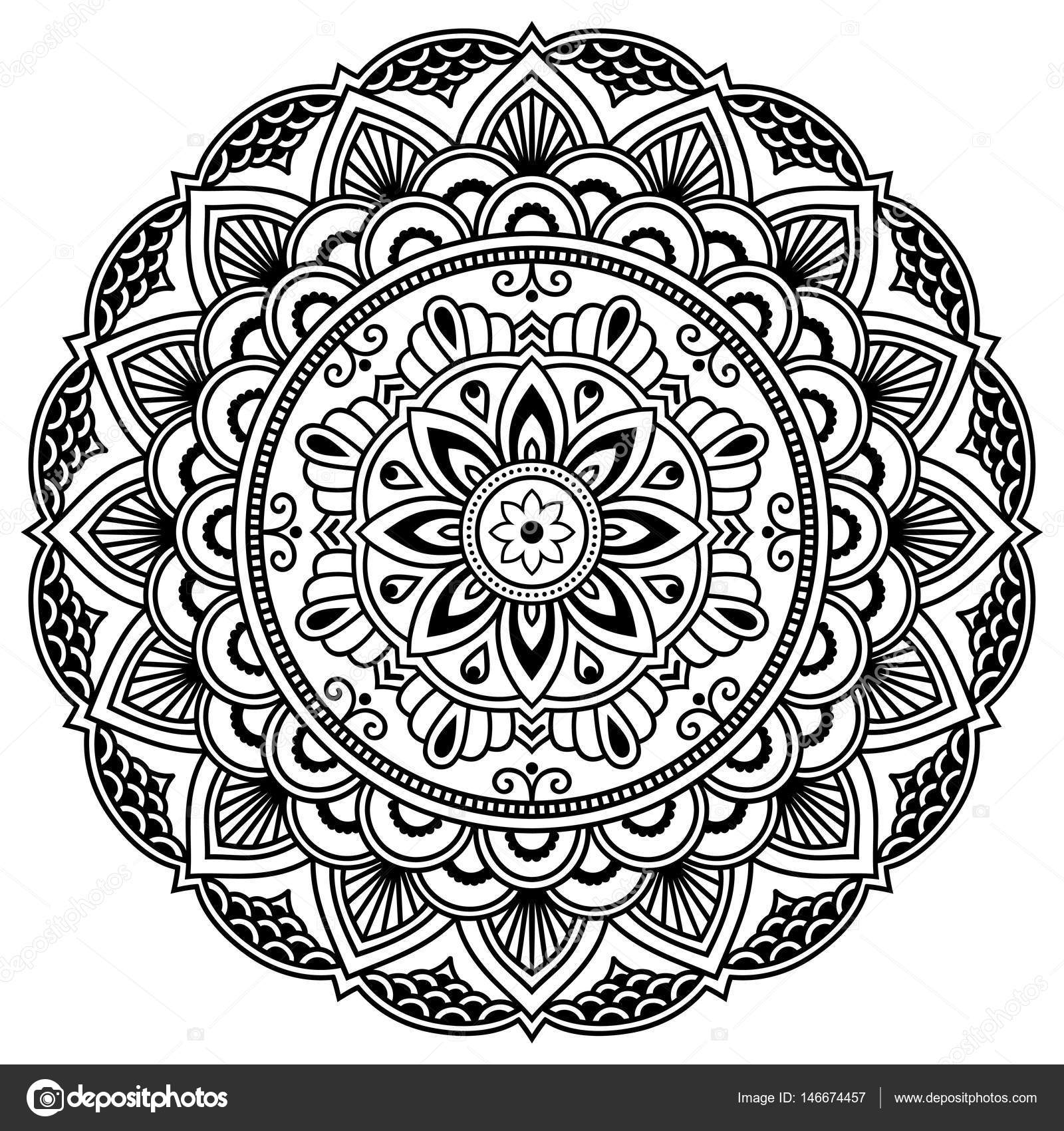 Henna Tattoo Mandala. Mehndi-Stil. Dekorative Muster im ...