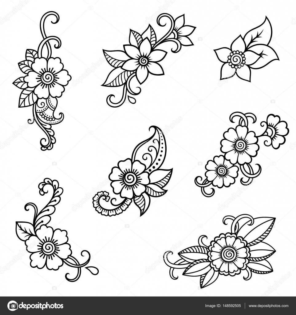 Henna Tattoo Einfach Klein: Henna-Tattoo Blume Vorlage. Mehndi-Stil. Satz Von