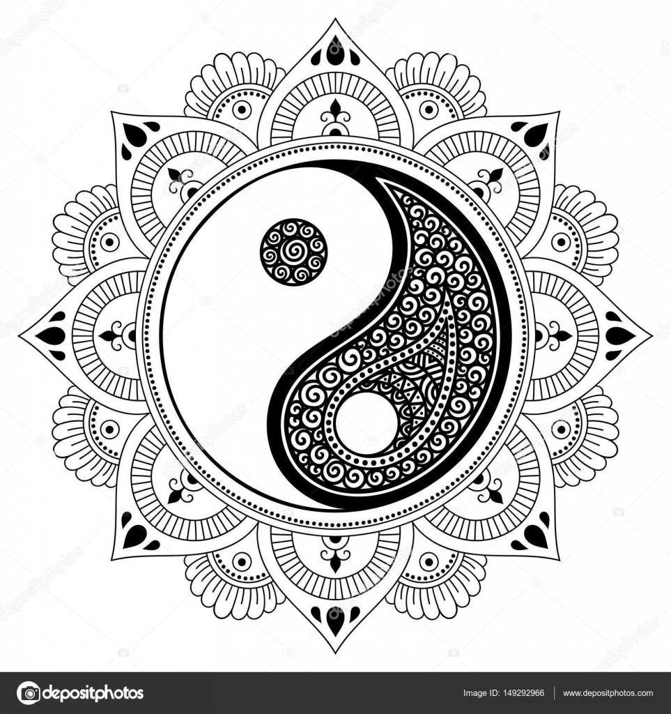 Yin Yang Mandala Art Mandala Del Tatuaje De Vector Henna Símbolo