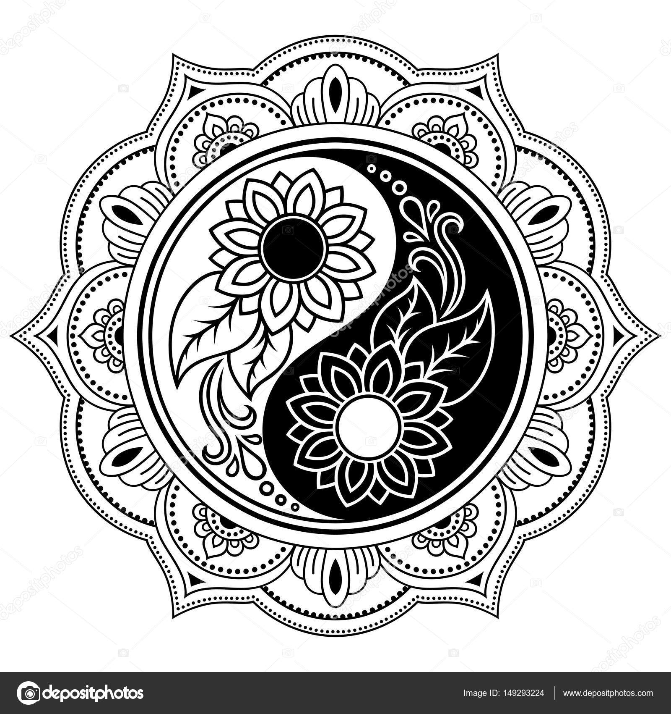 vector henna mandala yin yang decoratieve symbool