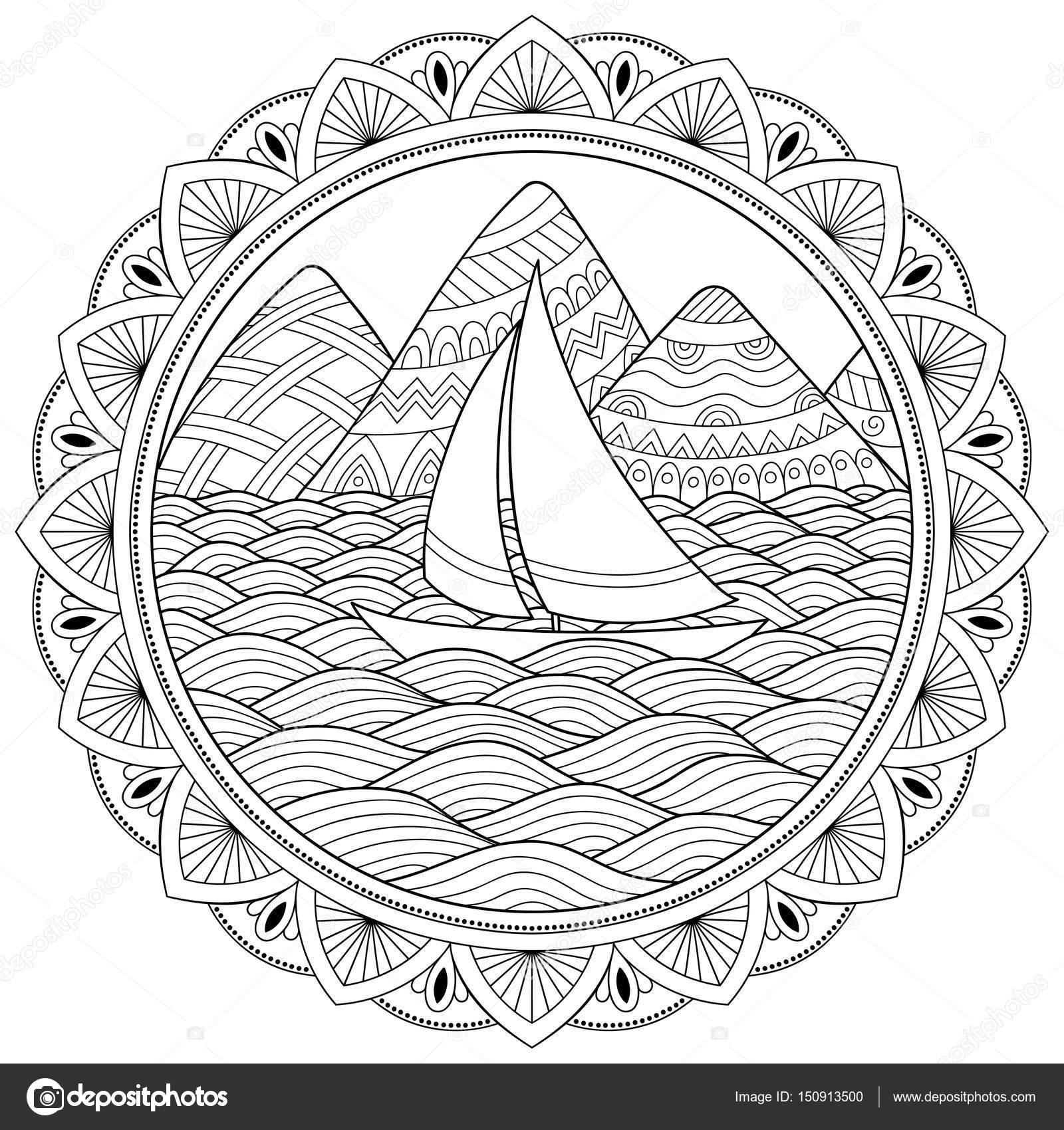 Reticolo Di Doodle In Bianco E Nero Modello Di Paesaggio Montagne