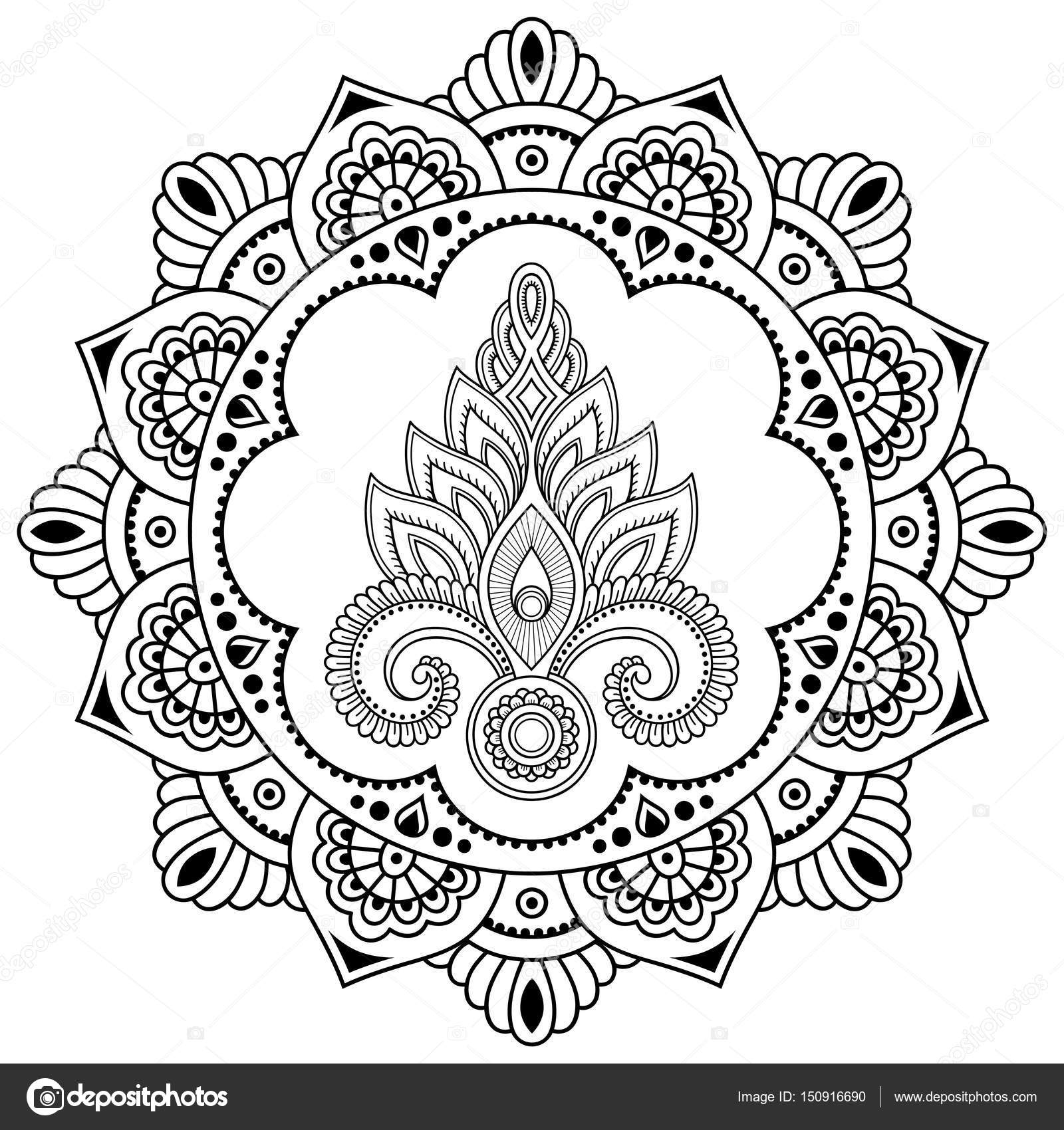 een circulaire patroon in de vorm van een mandala henna tattoo bloem sjabloon in indiase stijl. Black Bedroom Furniture Sets. Home Design Ideas