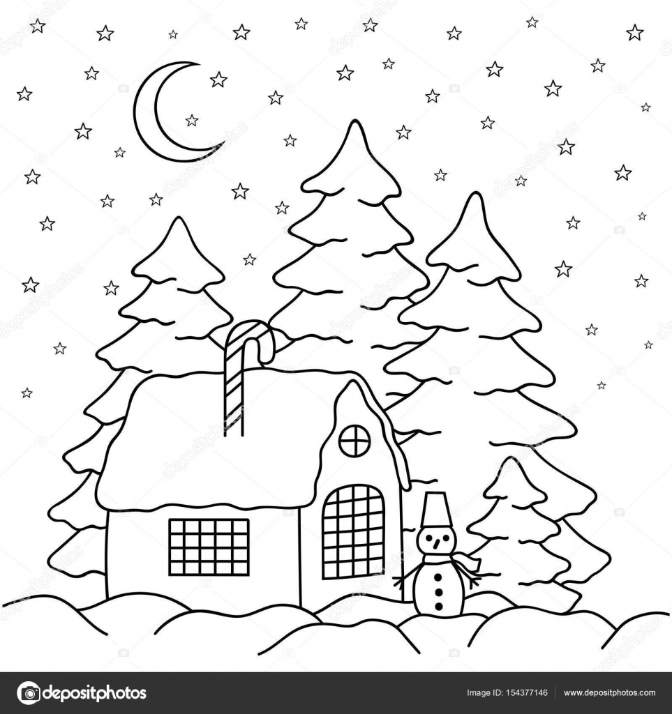hand draw village house behind the fence coloring book page for adults and children