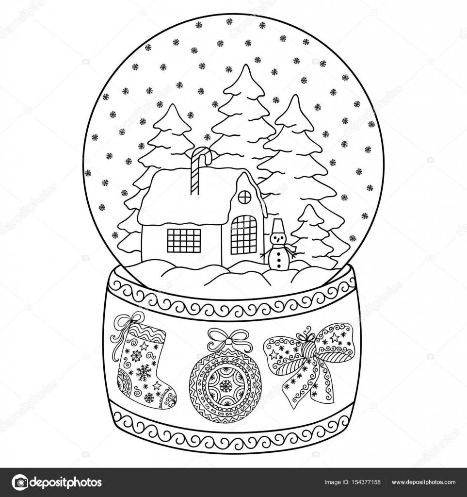 Spielzeug-Glas-Schneekugel mit Haus. Buch-Malvorlagen für Kinder und ...
