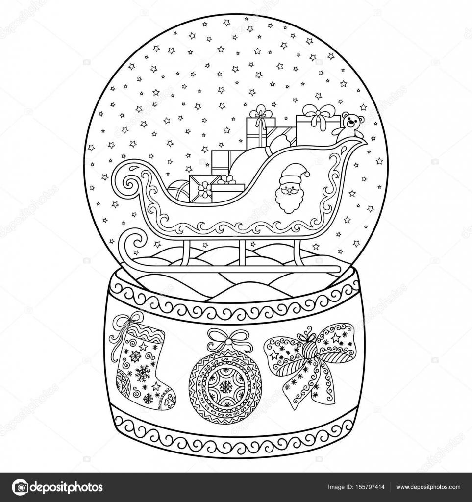 Kleurplaten Winter Voor Volwassenen.Speelgoed Glas Sneeuw Globe Met De Kerstman Boek Kleurplaat Voor