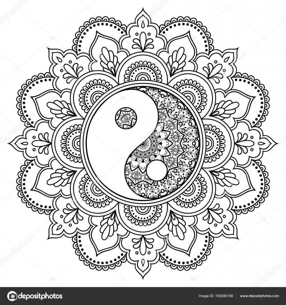 Vector Henna Tatoo Mandala Yin Yang Decorative Symbol Mehndi Style Pattern In Oriental Coloring Book Page
