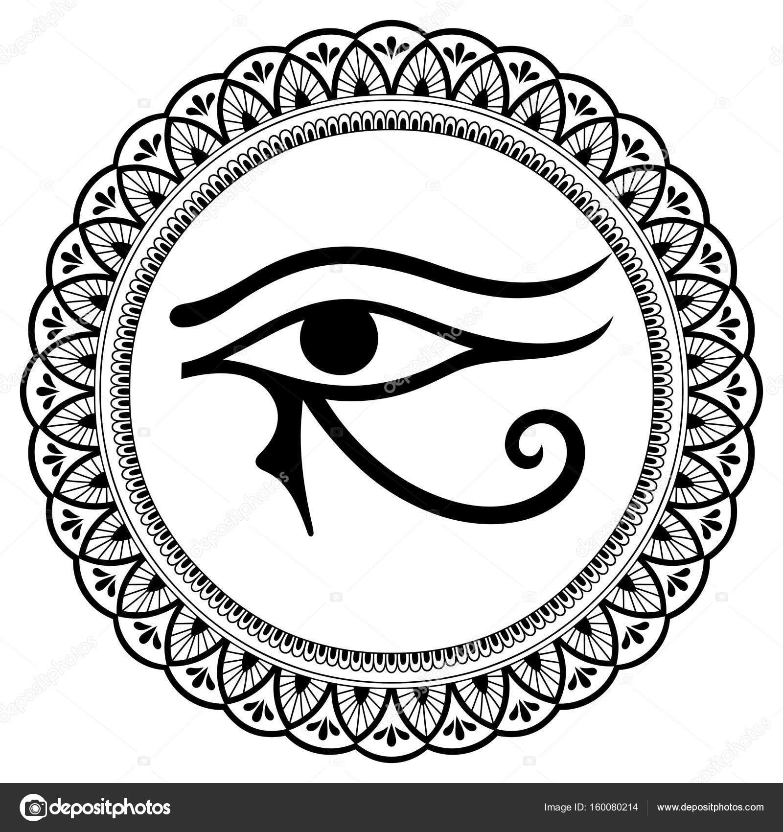 Szyk Kołowy W Formie Mandali Starożytny Symbol Oka Horusa