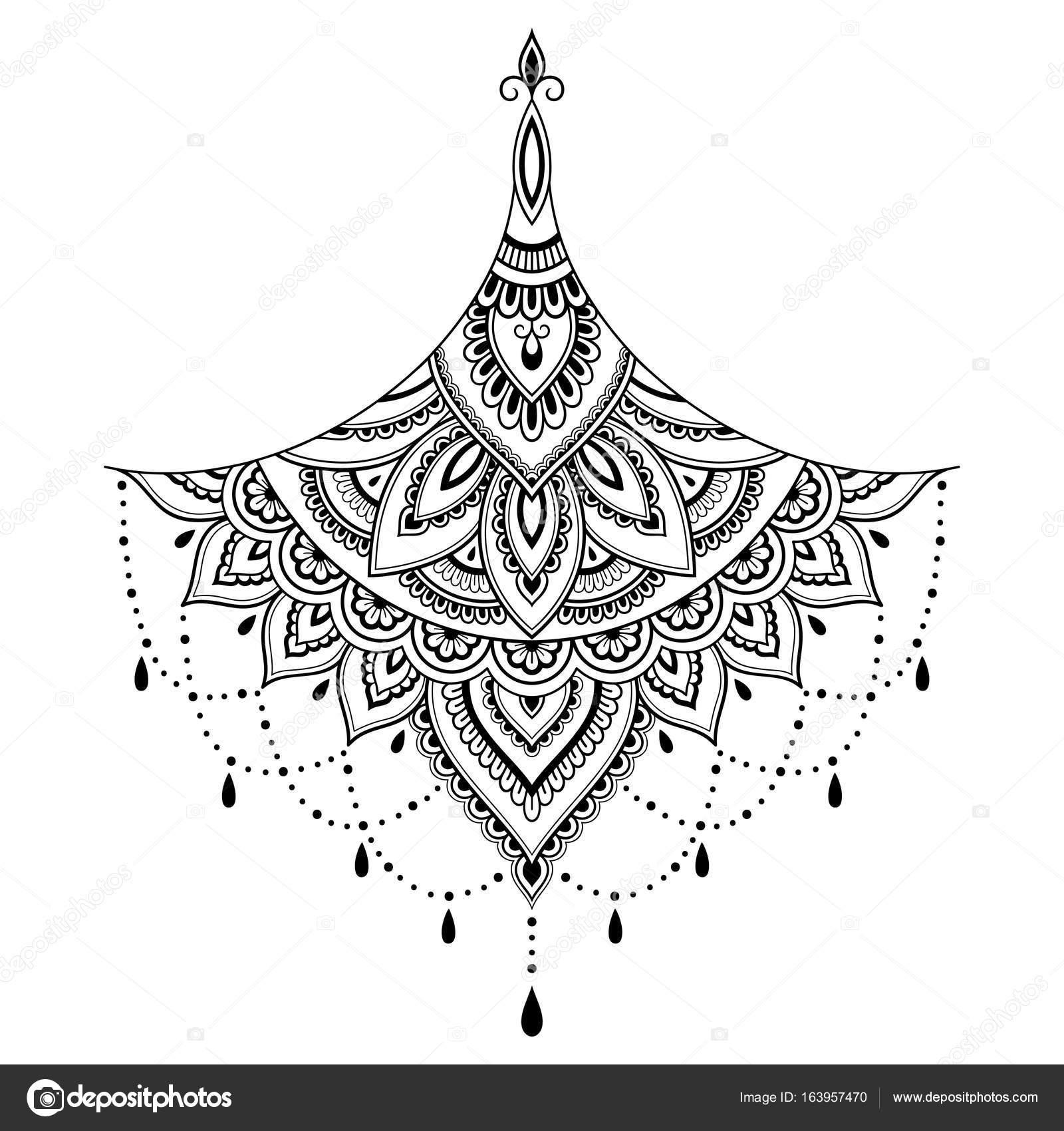 henna tattoo blume vorlage mehndistil reihe von