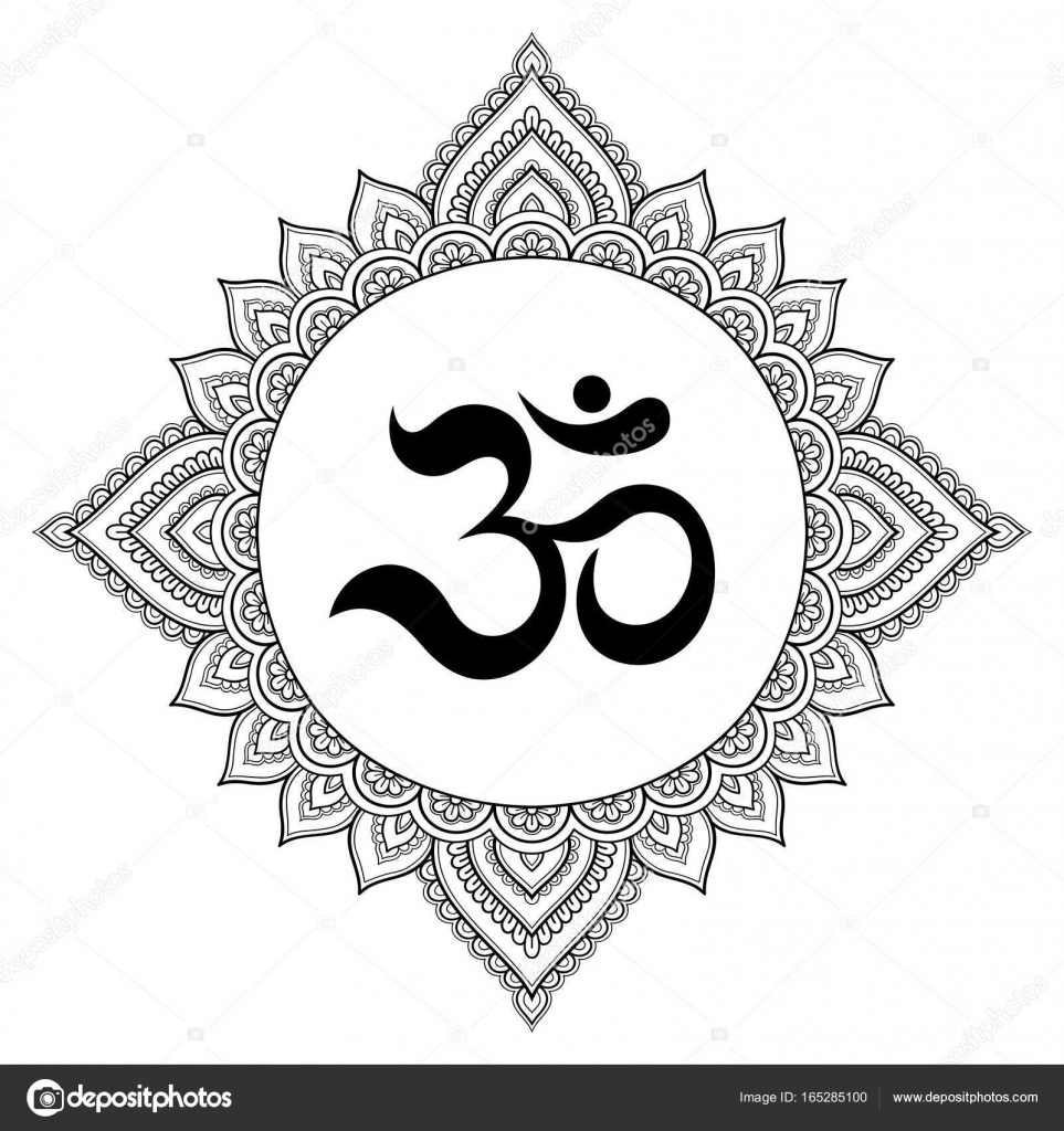 Circular pattern in the form of a mandala om decorative symbol om decorative symbol mehndi style decorative pattern in oriental style with the ancient hindu mantra om henna tattoo pattern in indian style buycottarizona
