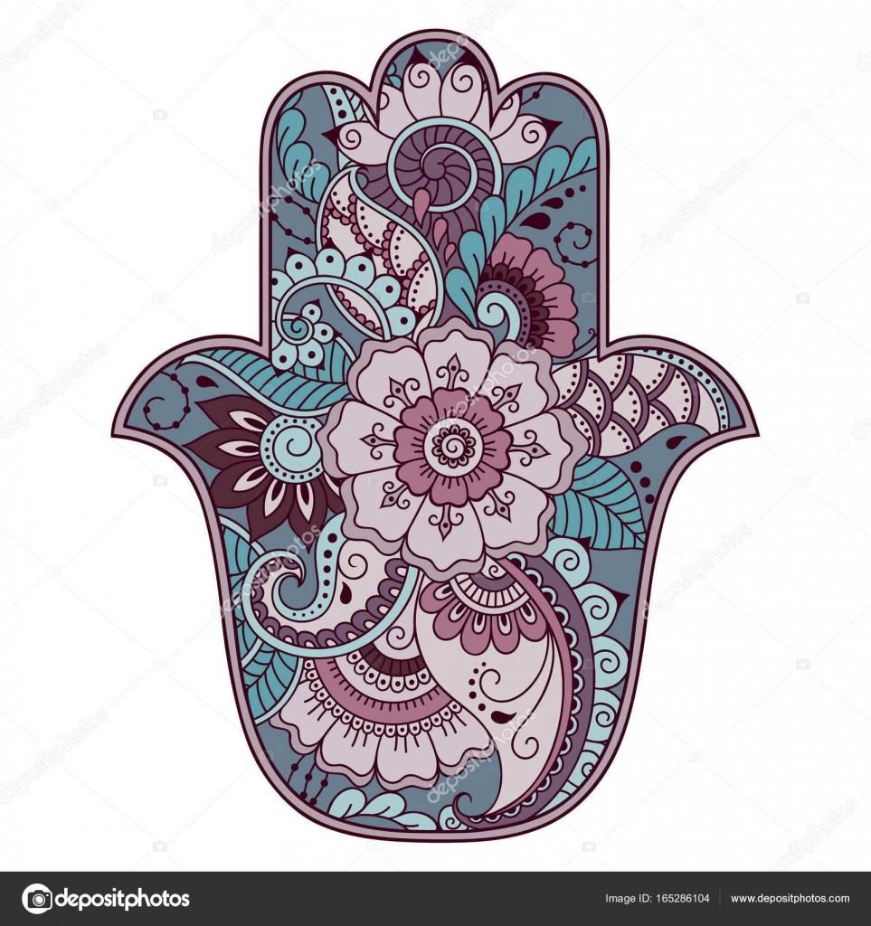 Color Hamsa Hand Drawn Symbol Decorative Pattern In Oriental Style