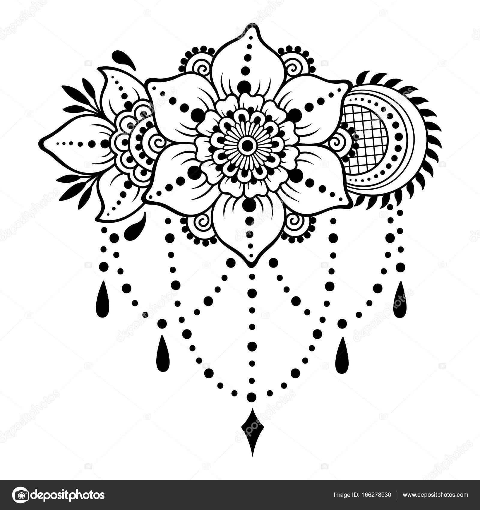 Henna Tattoo Flower Template In Indian Style: Plantilla De La Flor Del Tatuaje De Henna