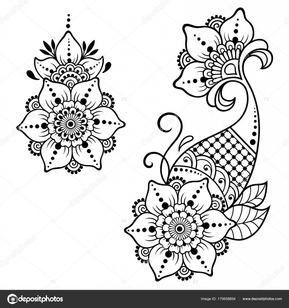 henna tattoo blume vorlage mehndi stil satz von ornamentalen mustern im orientalischen stil. Black Bedroom Furniture Sets. Home Design Ideas