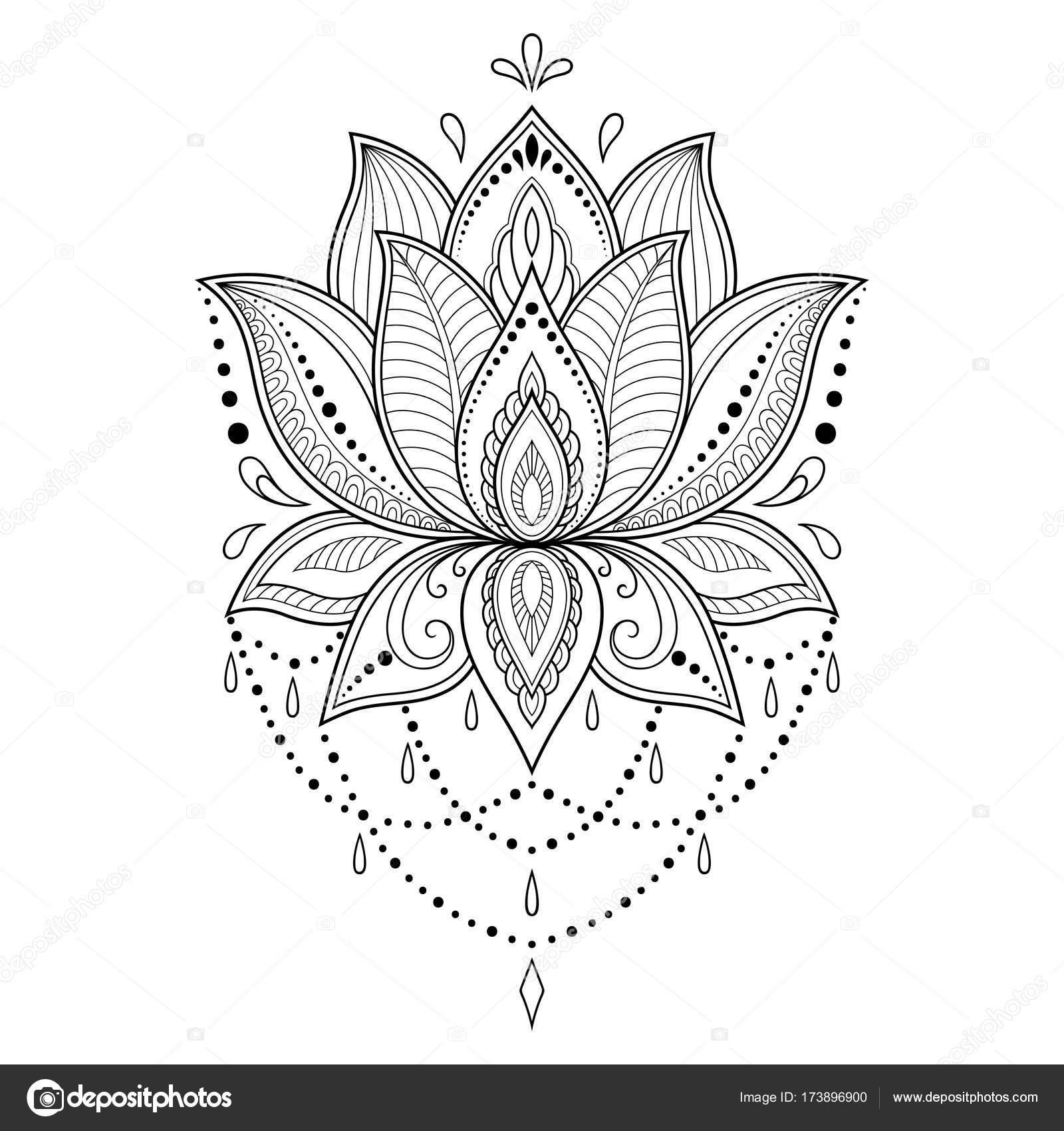 Moldes De Flores Para Tatuajes Plantilla Flor Tatuaje Henna Estilo