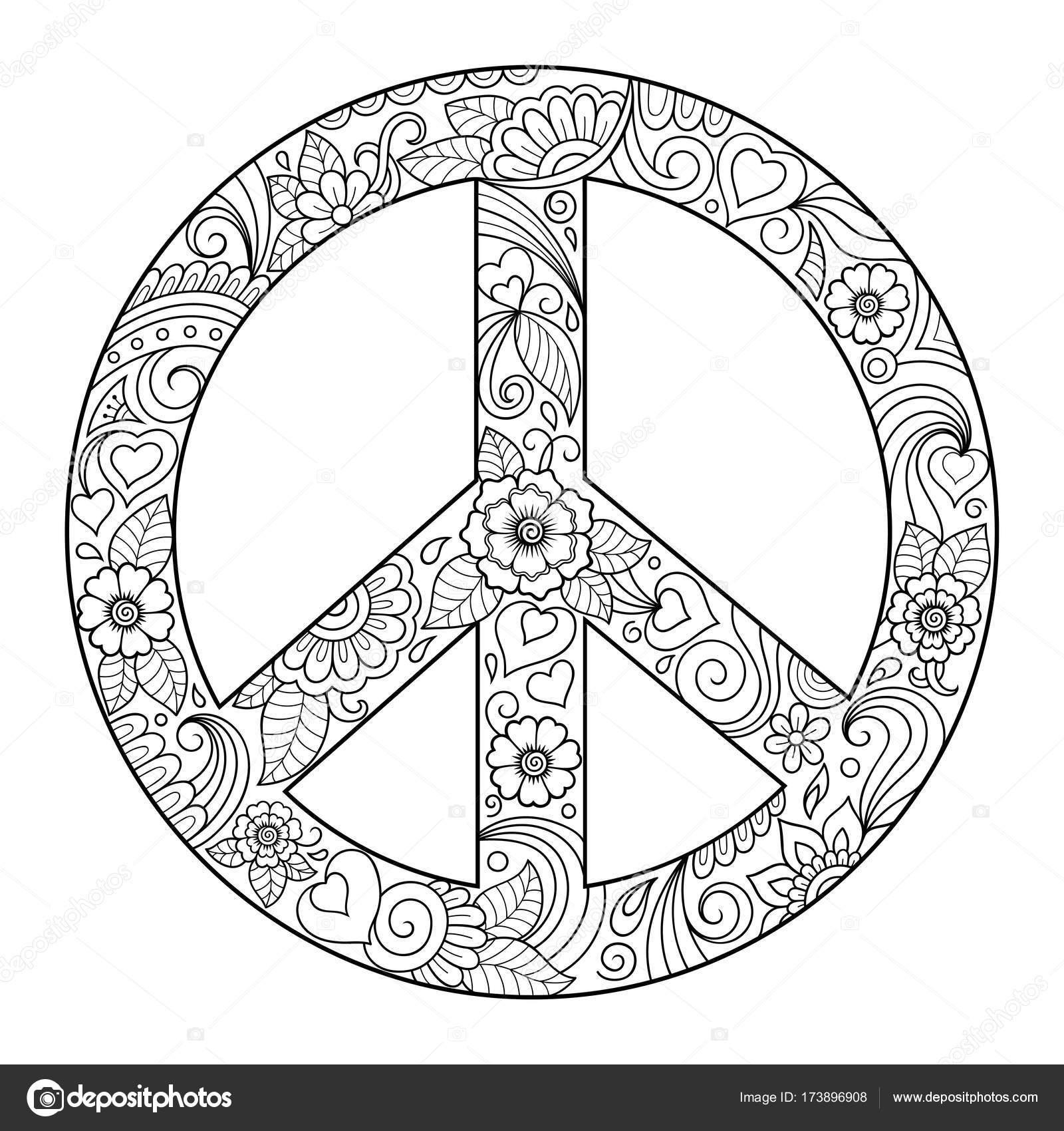Imágenes: simbolos hippies para colorear | Pacífico Símbolo Del