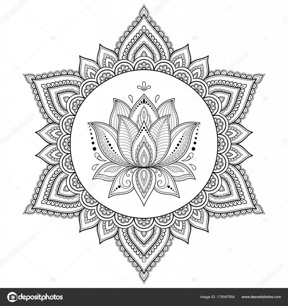 Motif Circulaire Sous Forme Mandala Mandala Tatouage Henne Mehndi