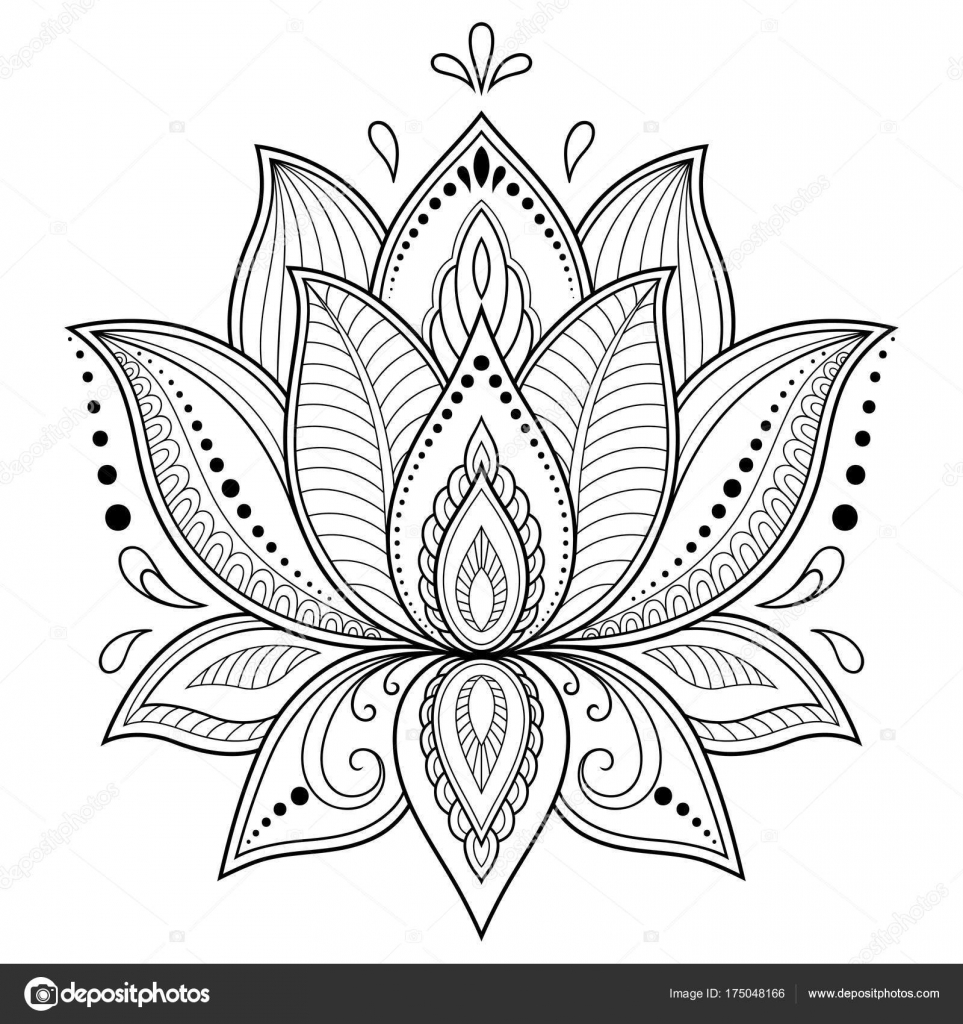 Henna Tattoo Flower Template Indian Style Ethnic Floral Paisley ...