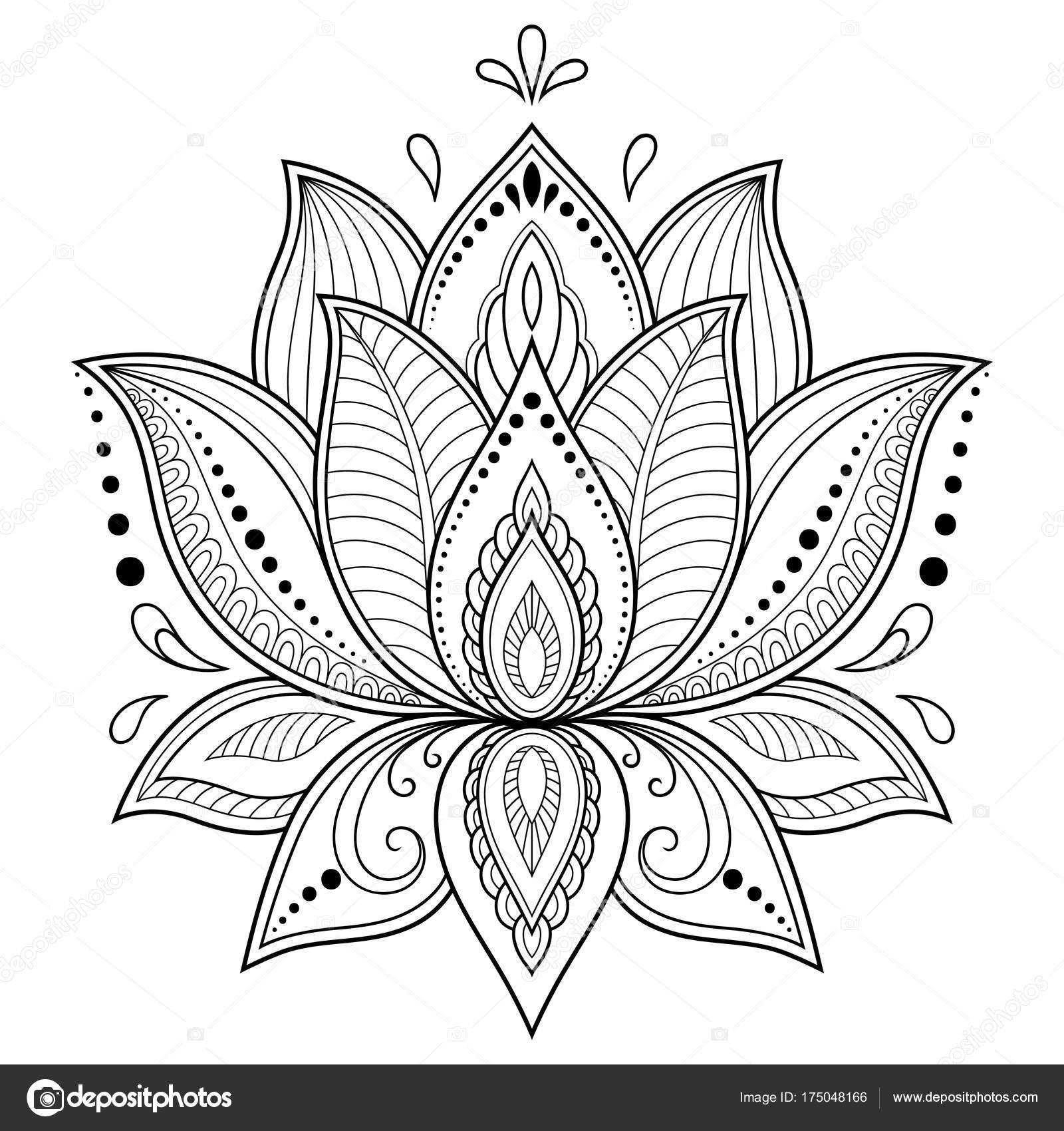 henna tattoo bloem sjabloon indiase stijl etnische floral