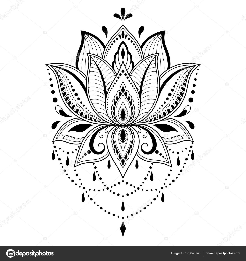 henna tattoo blume vorlage indischen stil ethnische. Black Bedroom Furniture Sets. Home Design Ideas