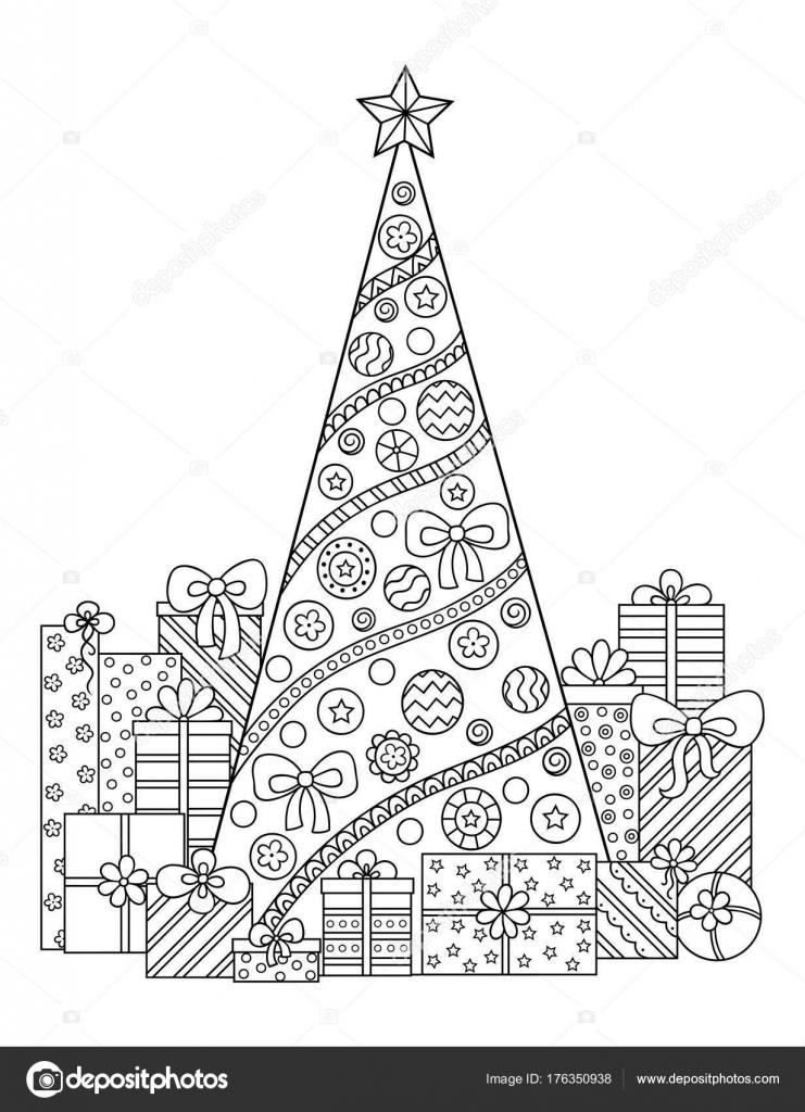 Doodle Patrón Blanco Negro Adornos Navideños Árbol Navidad Regalos ...