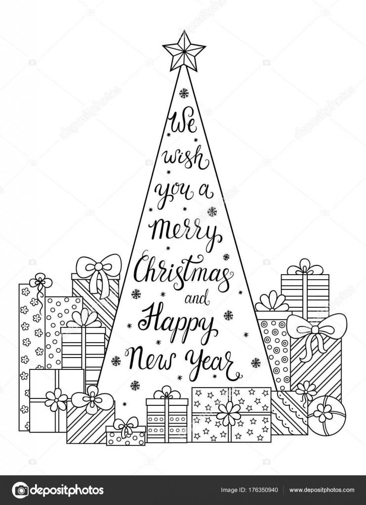 Patrón Doodle Nosotros Deseamos Una Feliz Navidad Feliz Año Nuevo ...