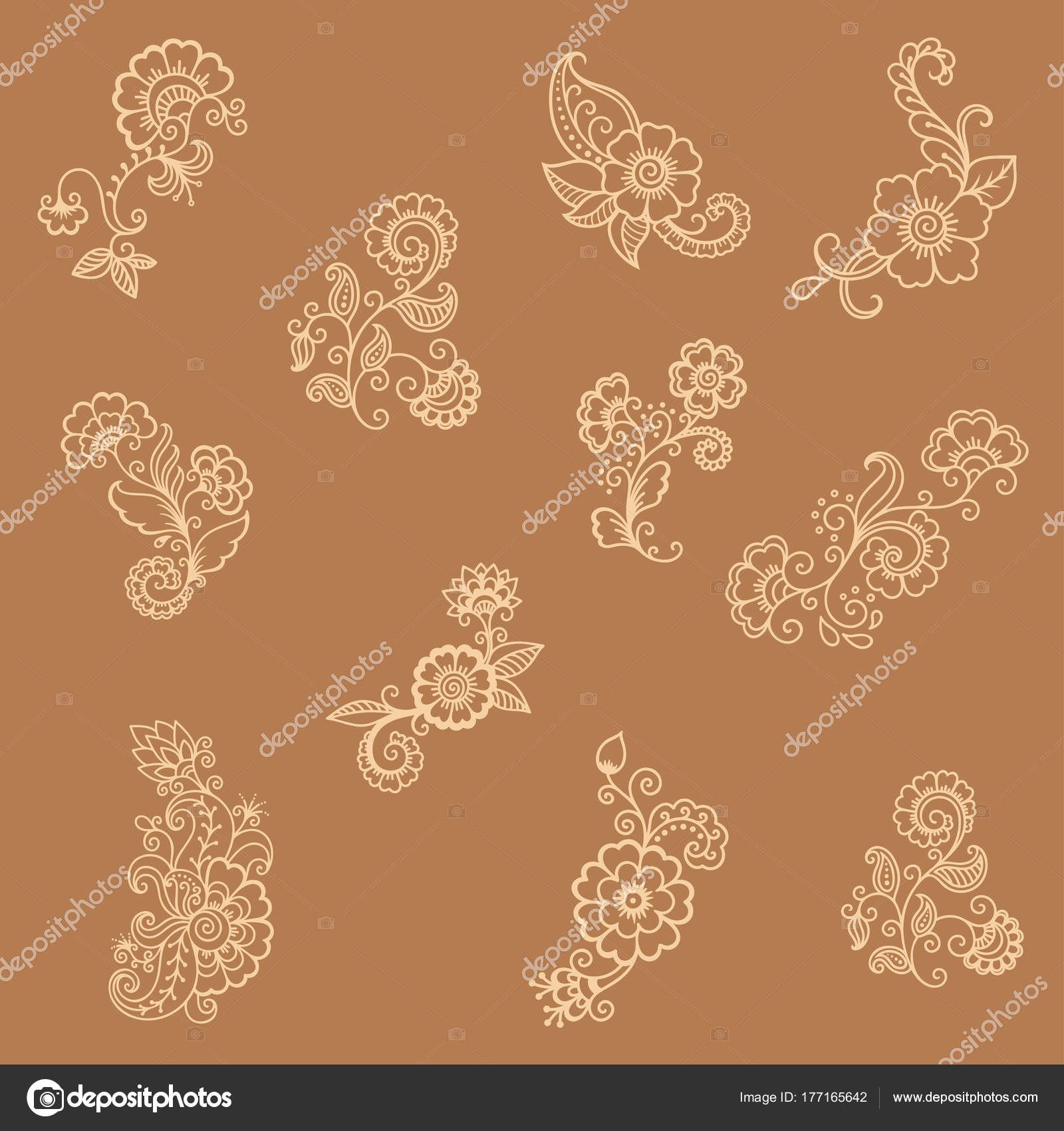 Henna Tattoo Flower Template Indian Style Ethnic Floral Paisley