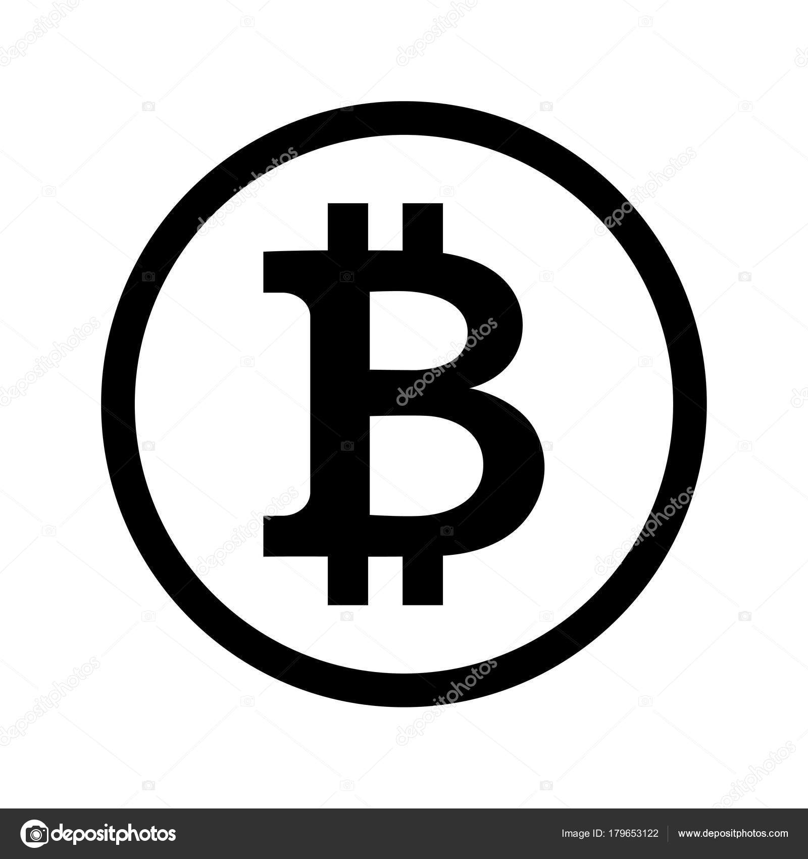 Black Symbol Crypto Currency Bitcoin Circle White Background Sign ...