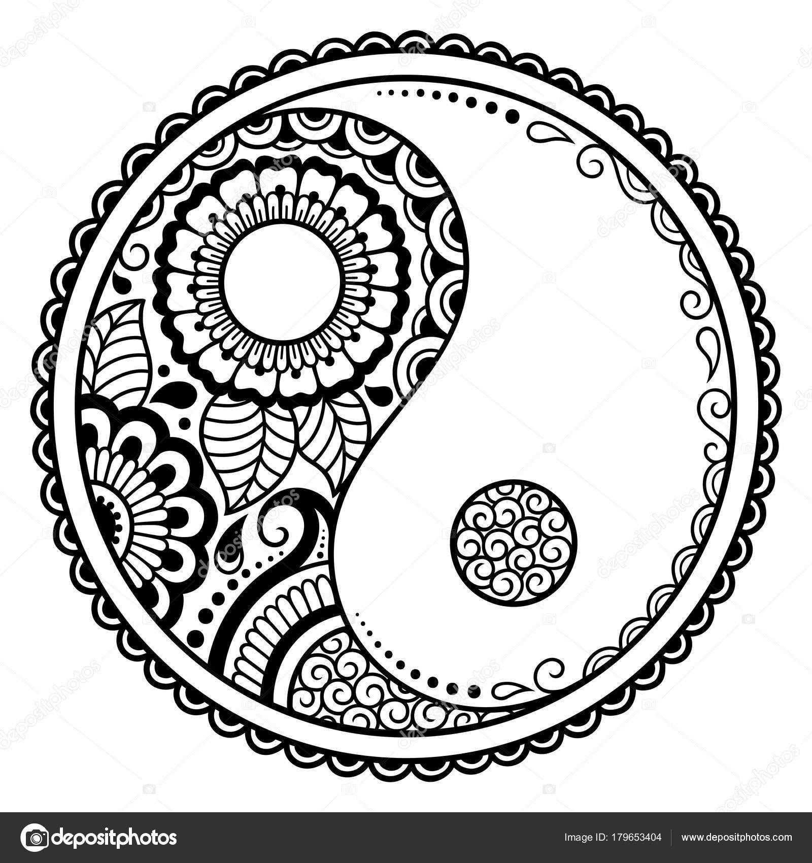 circulaire patroon yin yang decoratieve symbool mehndi