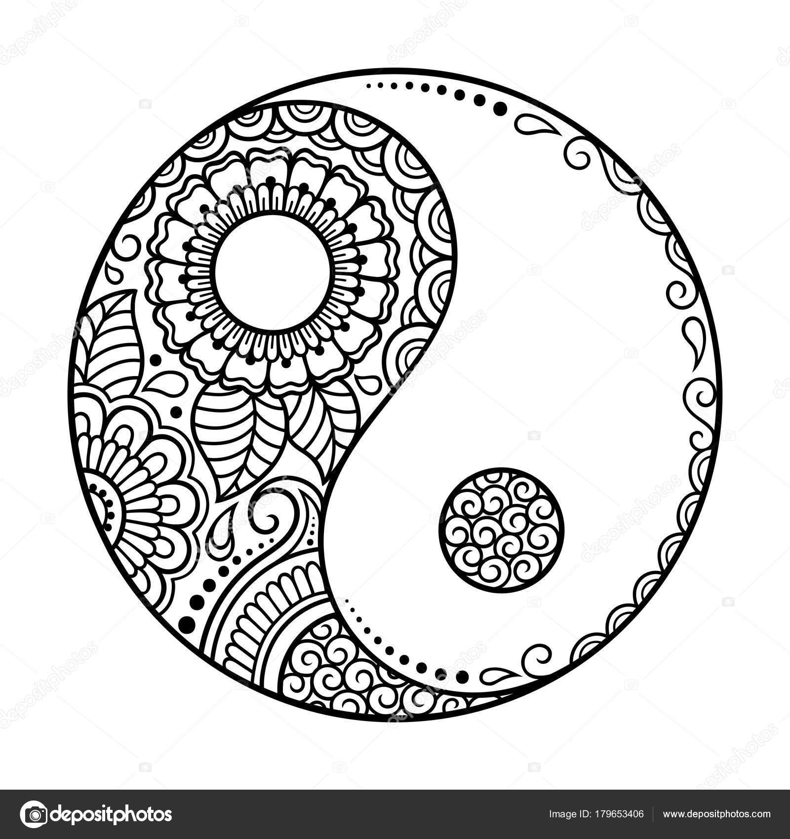 Circular Pattern Yin Yang Decorative Symbol Mehndi Style ...