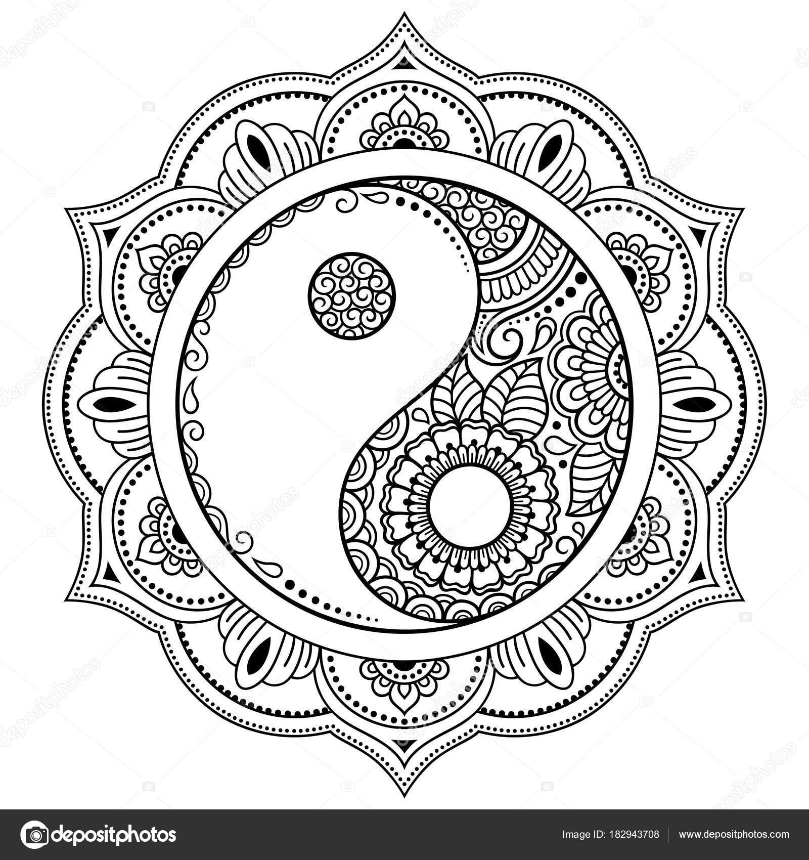 circulaire patroon vorm een mandala yin yang