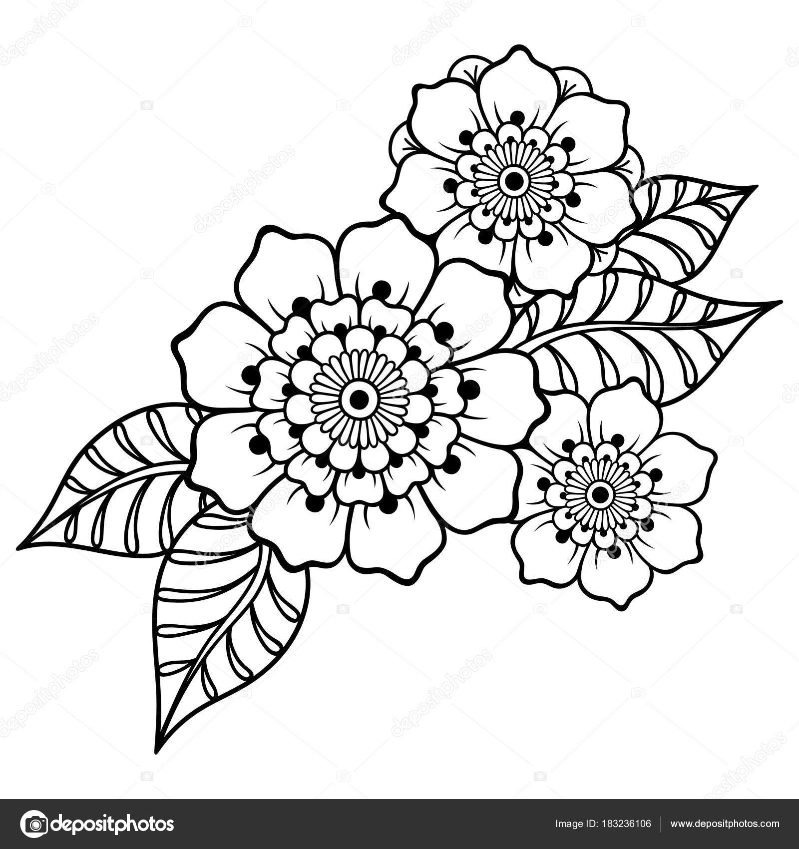 Henna Tattoo Blume Vorlage Indischen Stil Ethnische Floralen Paisley