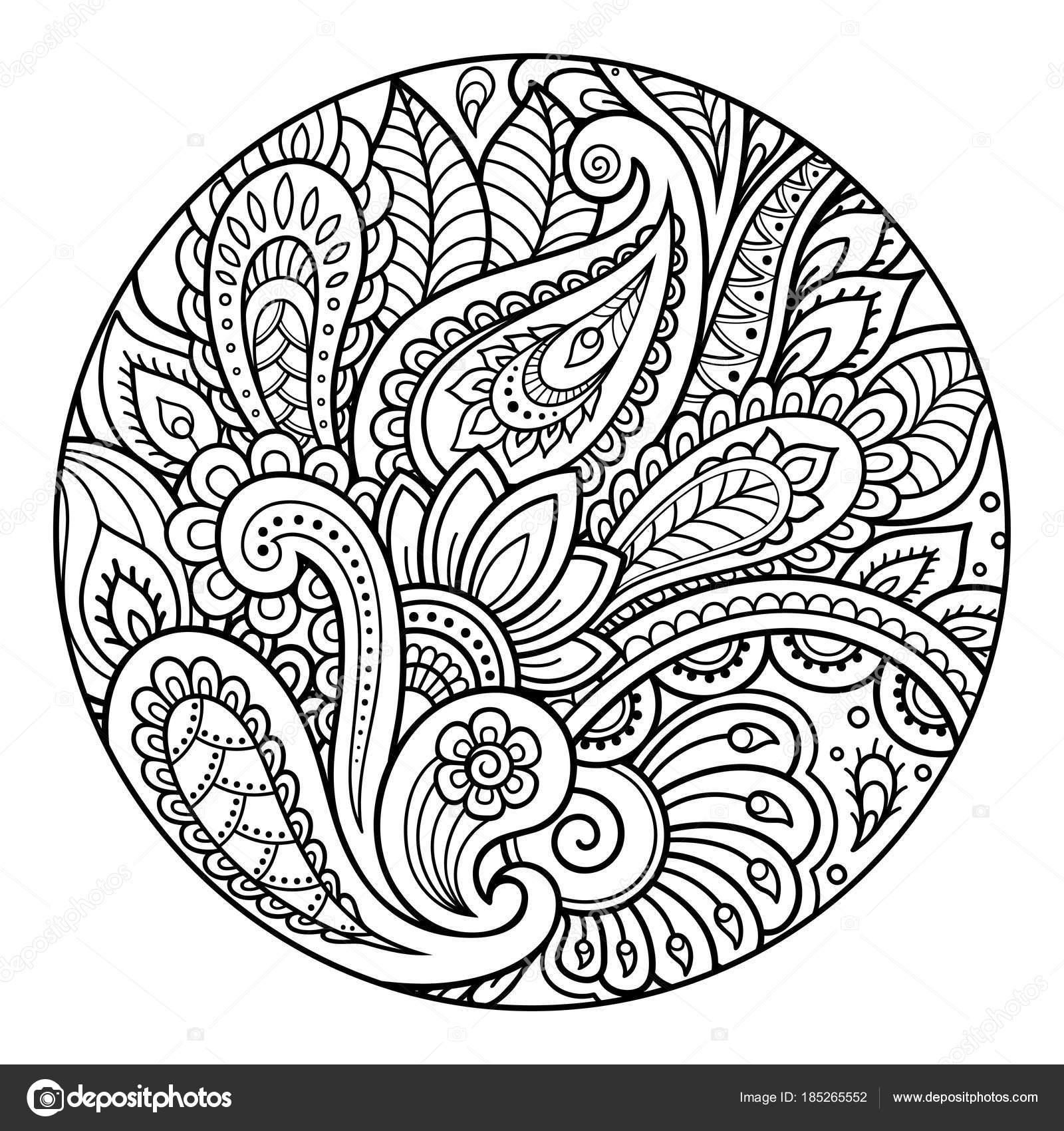 Contorno Redondo Patrón Floral Página Libro Para Colorear Antiestrés ...
