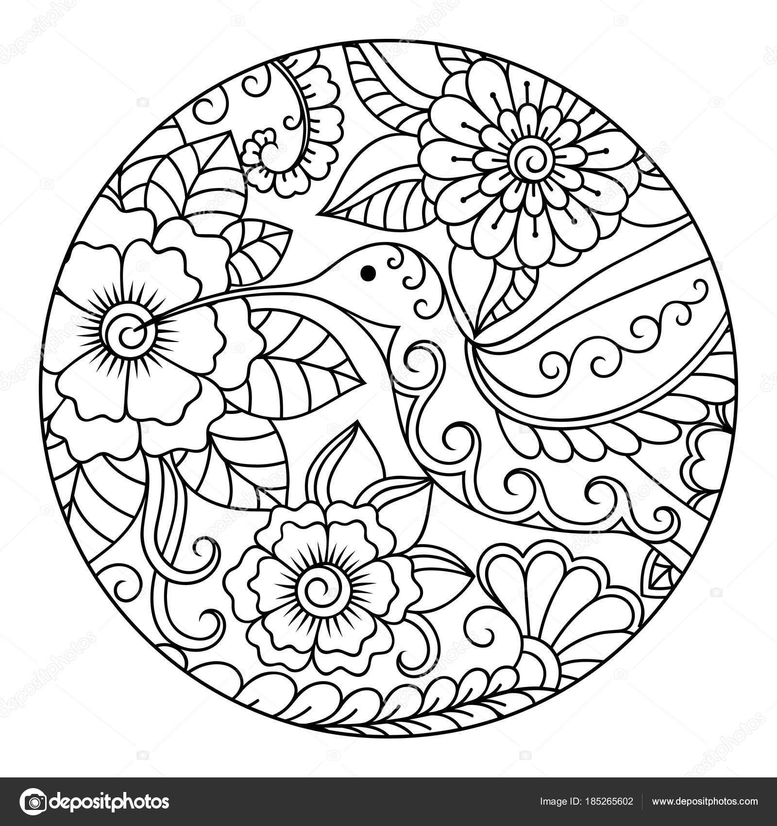 наброски круглый цветочный узор окраски страницы книги