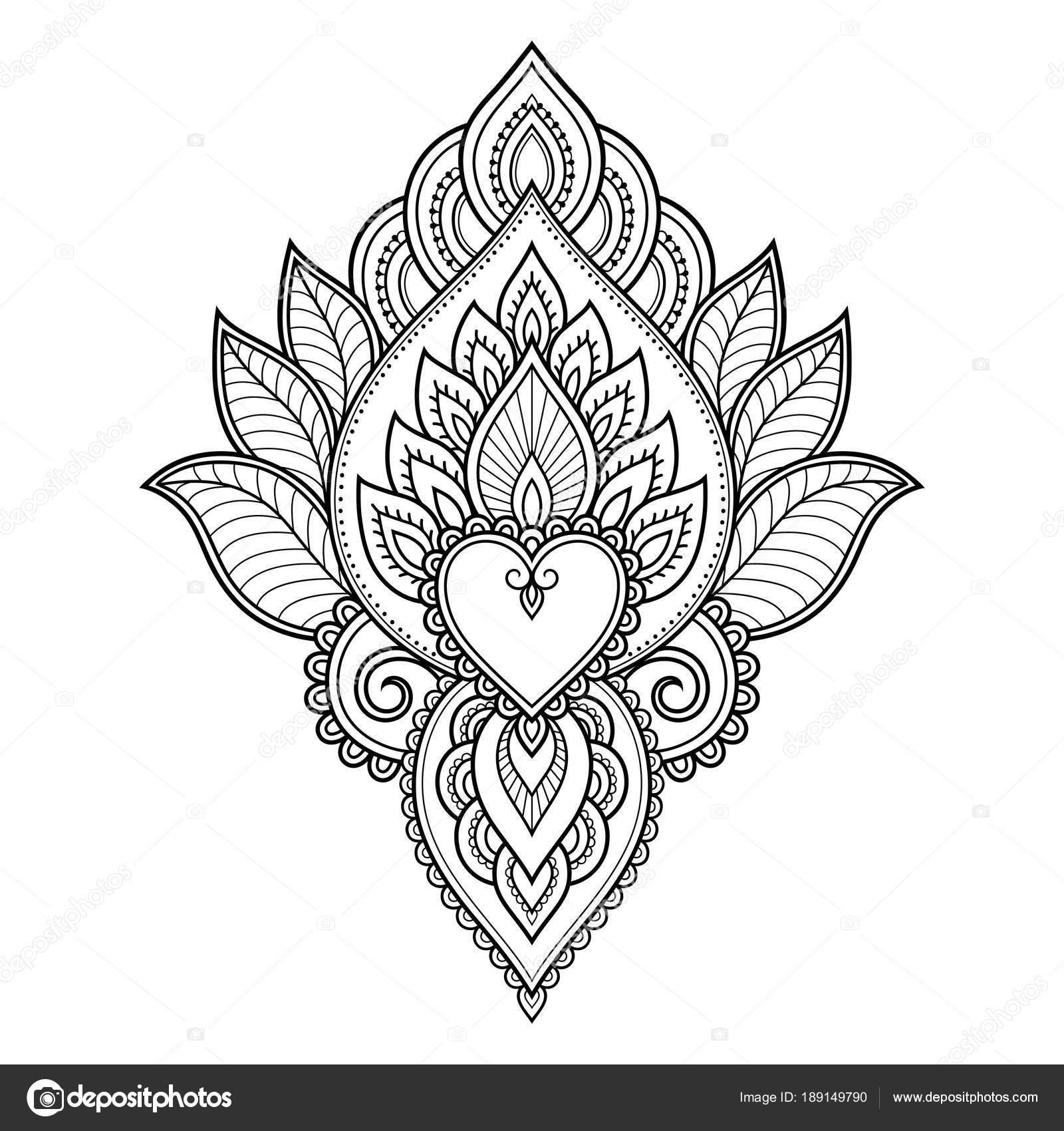henna tattoo flower template border mehndi style set ornamental
