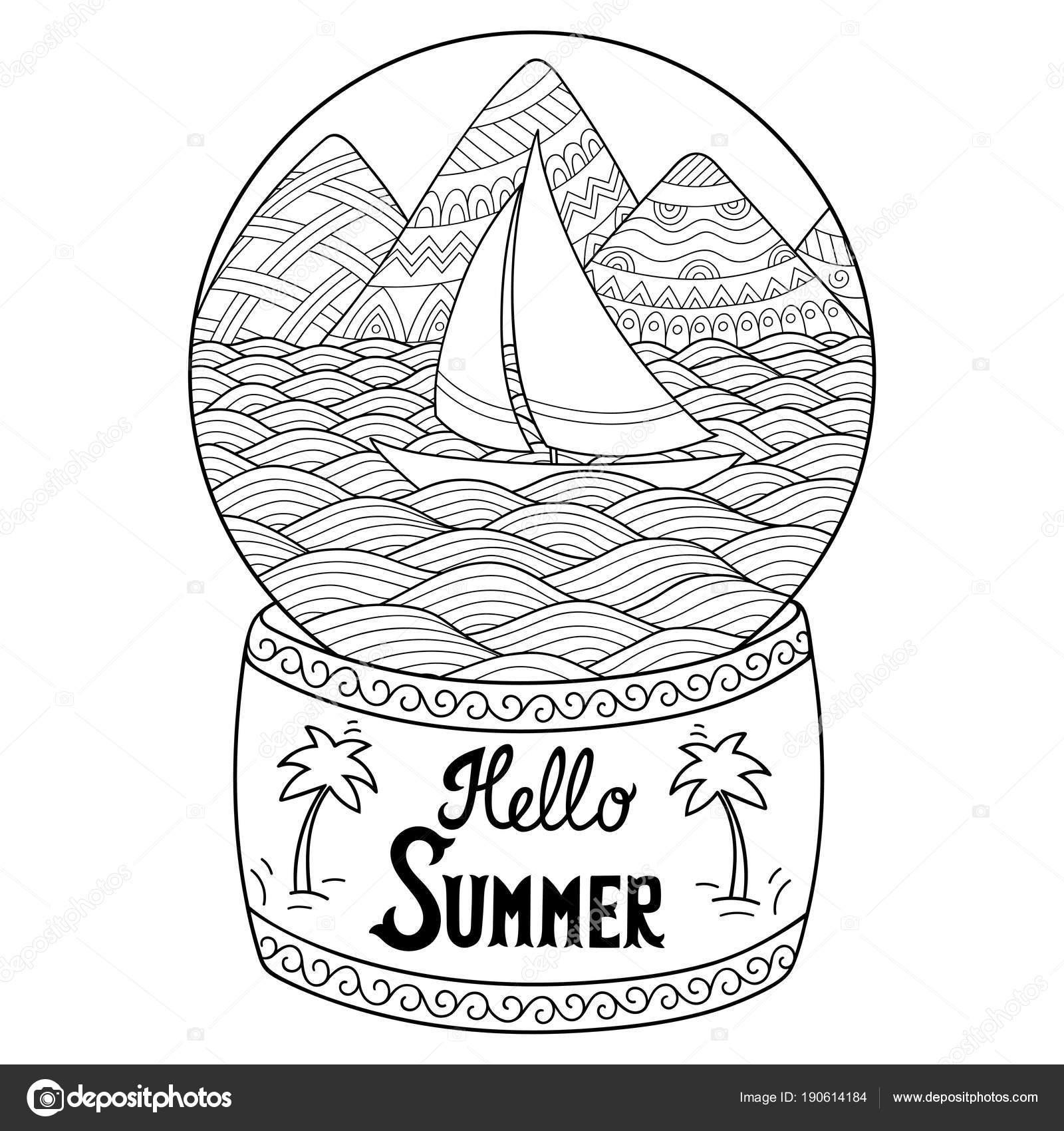 Dibujos Montañas Y Rios Esfera Cristal Con Paisaje Mar