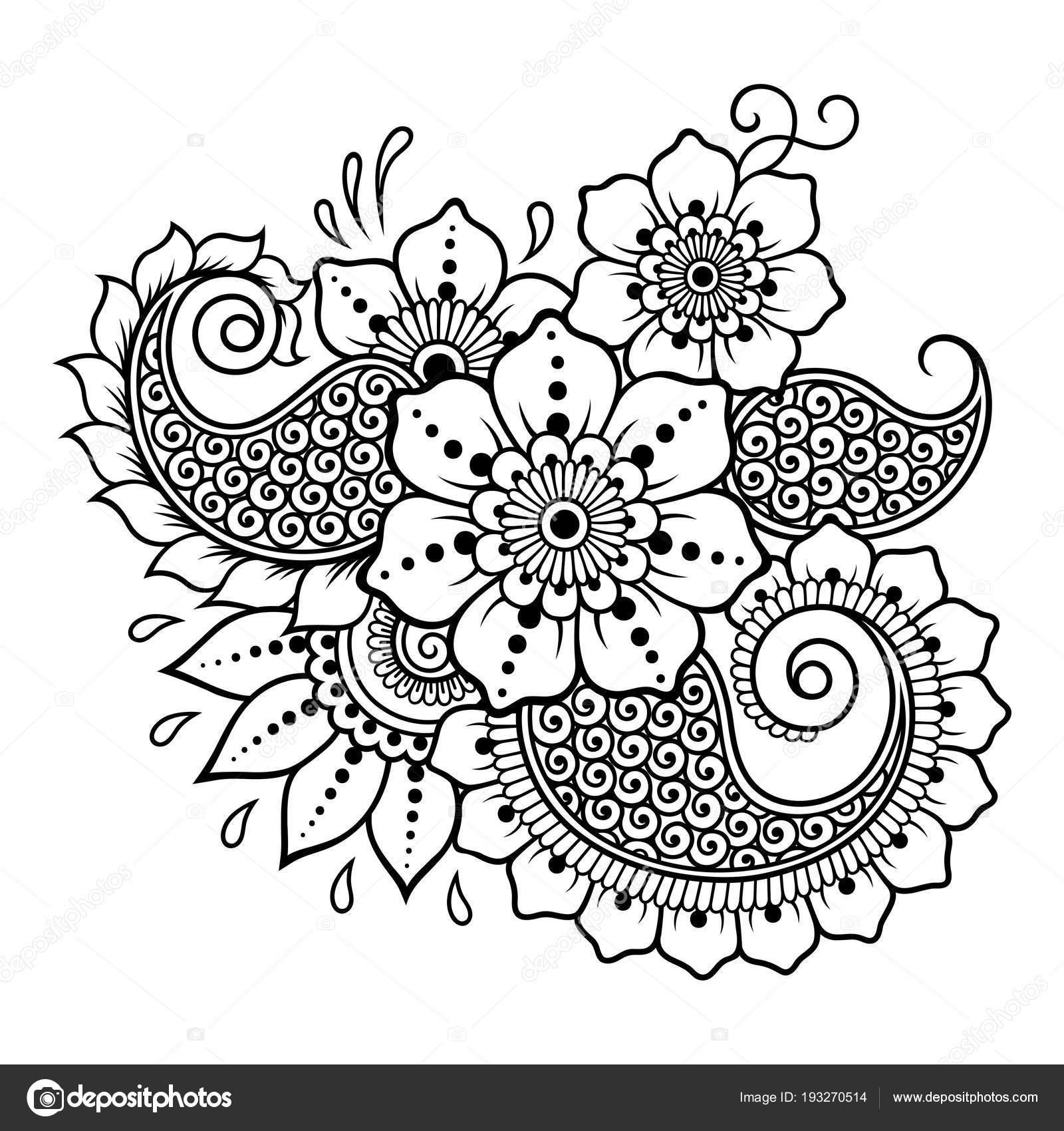 Mehndi Flower Pattern Henna Drawing Tattoo Decoration Ethnic