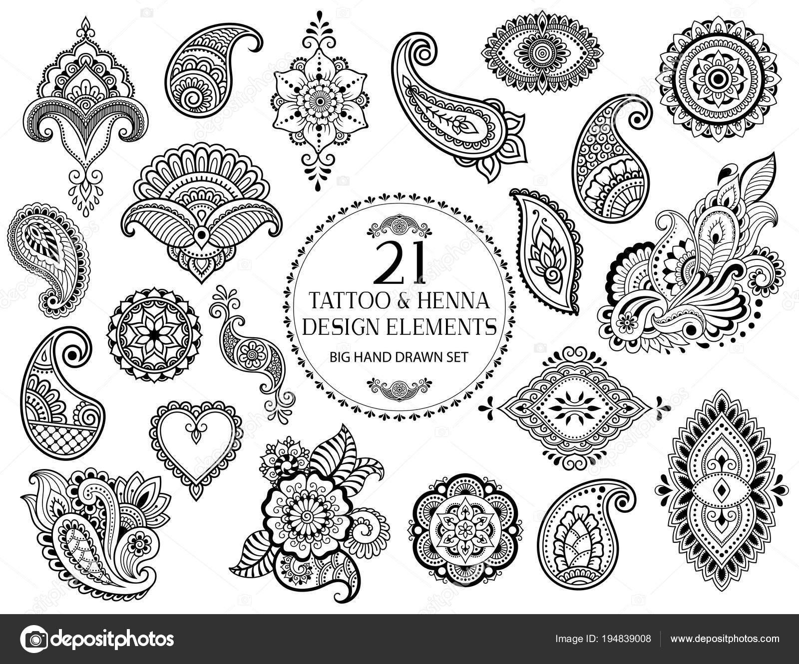 Dibujos Flores Para Tatuajes Gran Conjunto Patron Flores Mehndi