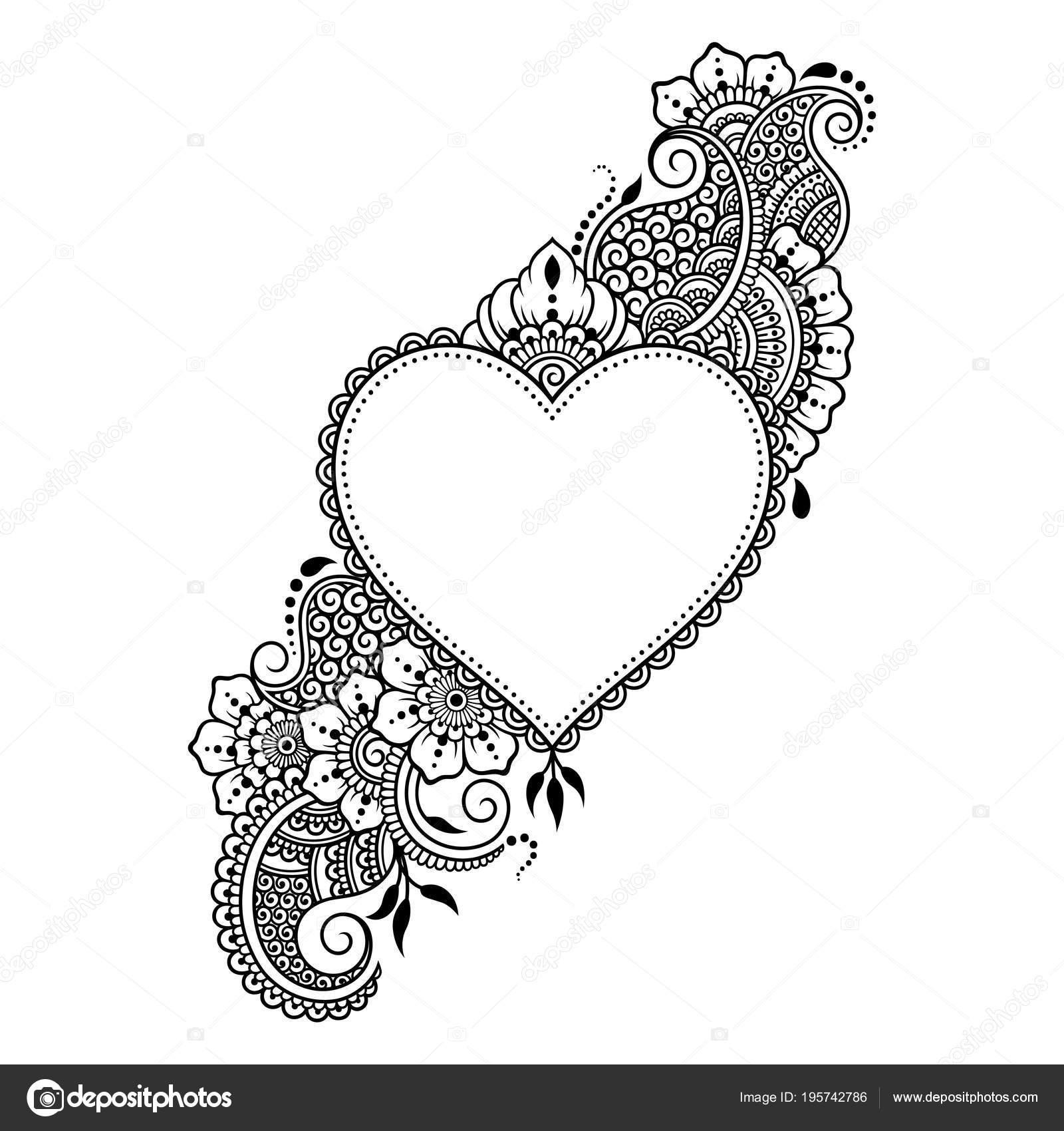 Dessin Pour Henné motif fleurs mehndi avec cœur pour dessin henné tatouage décoration