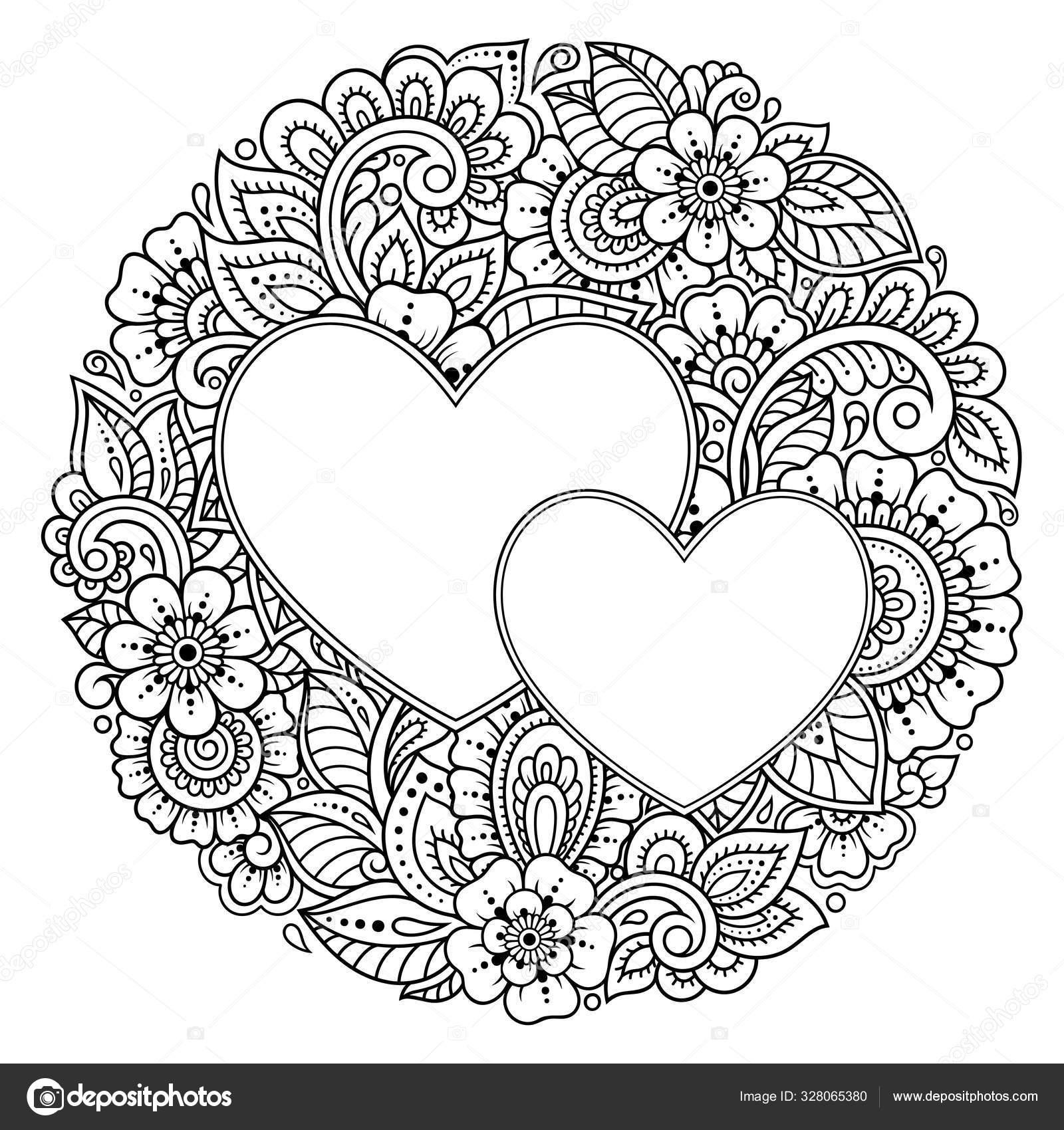 Padrao Circular Forma Mandala Com Moldura Forma Coracao