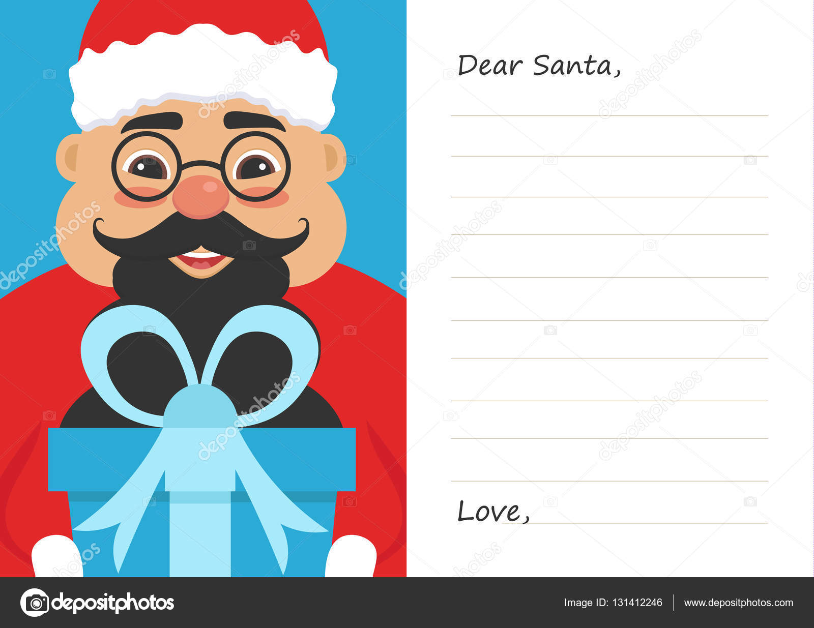 Letter Dear Santa Claus For Merry Christmas Or New Year. Cute Asian