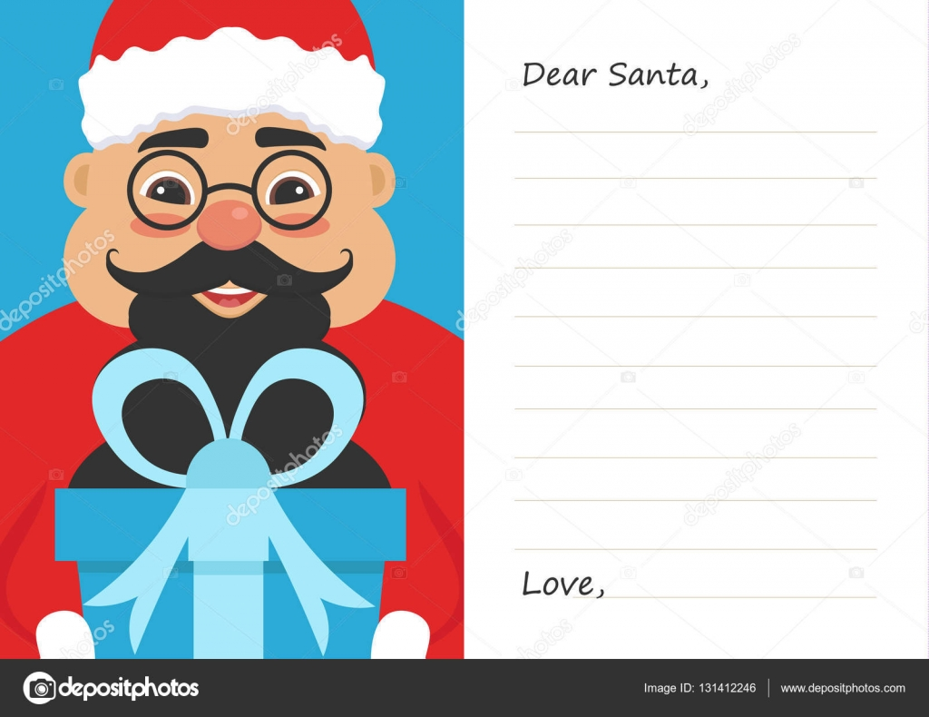 Letter Dear Santa Claus For Merry Christmas Or New Year Cute Asian