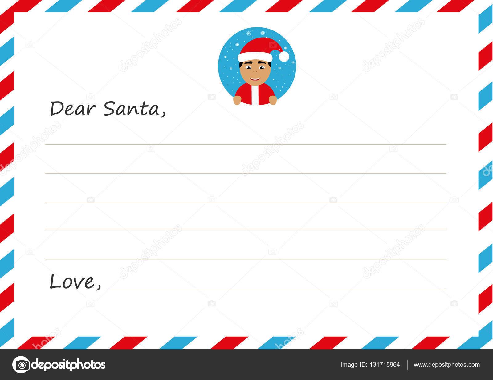 テンプレート封筒新年の手紙アイコンとかわいいアジアのサンタ クロース