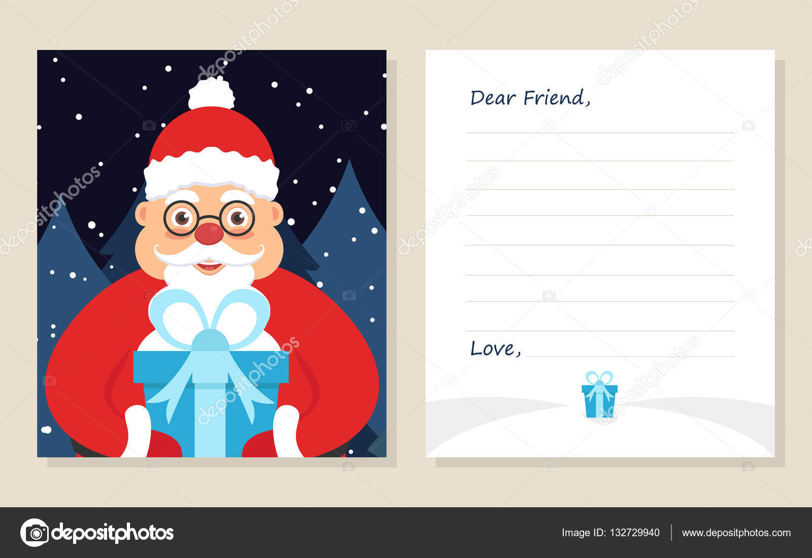 Template Greeting Card New Years Or Merry Christmas Letter To Dear Friend Cute Santa In